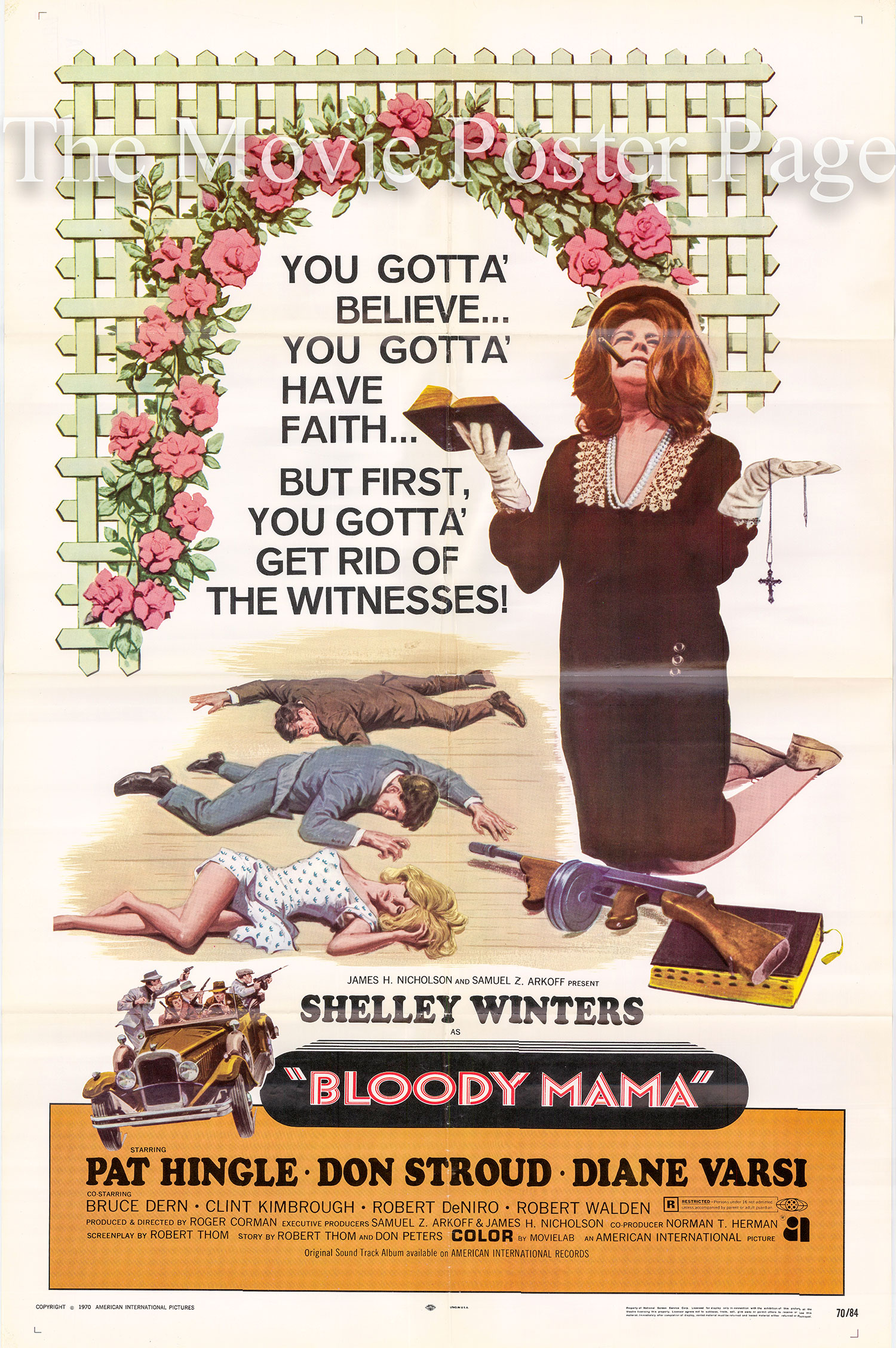 Pictured is a US promotional poster for the 1970 Roger Corman film Bloody Mama starring Shelley Winters as Kate Barker.