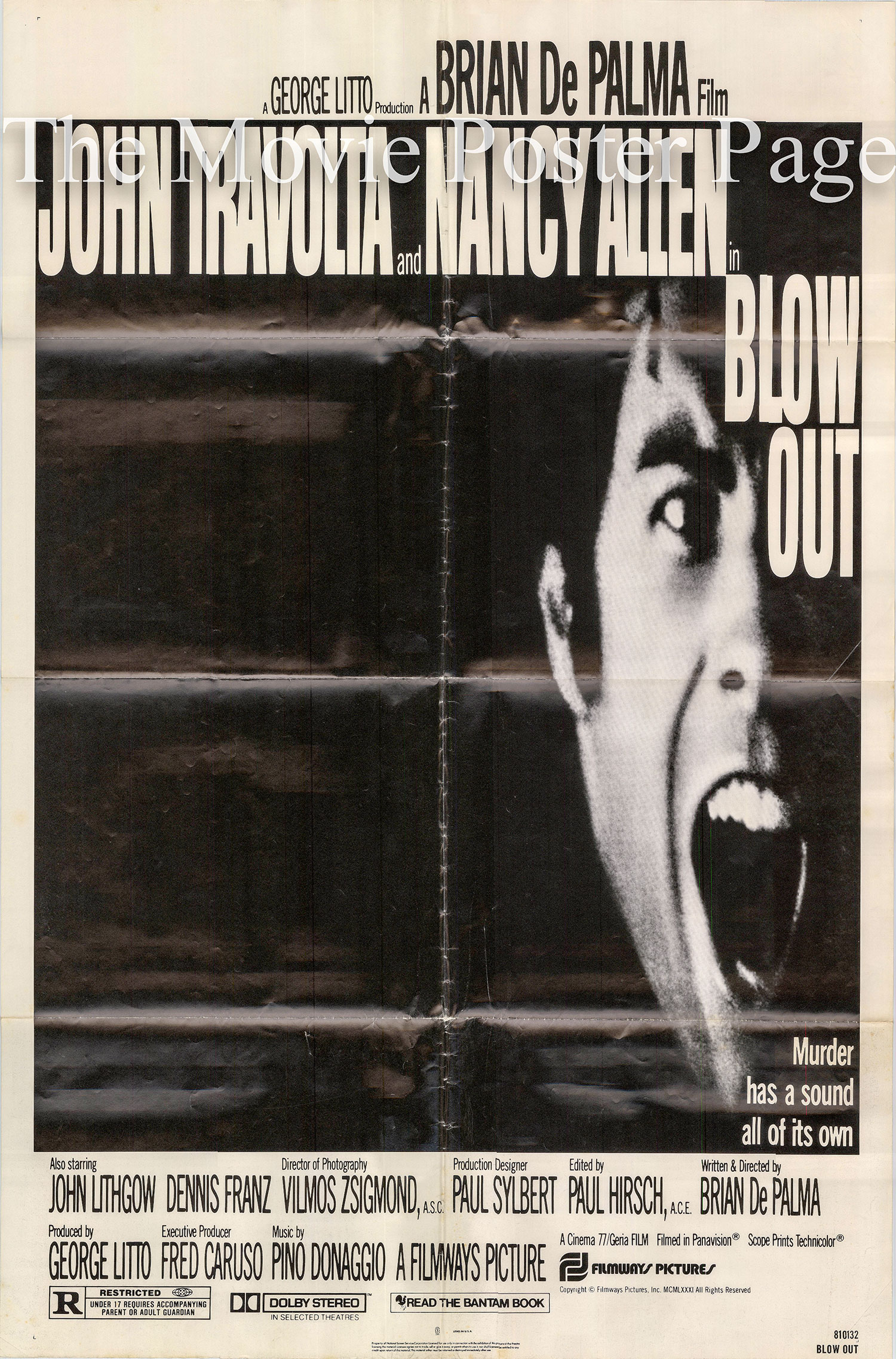 Pictured is a US one-sheet promotional poster for the 1981 Brian De Palma film Blow Out starring John Travolta.