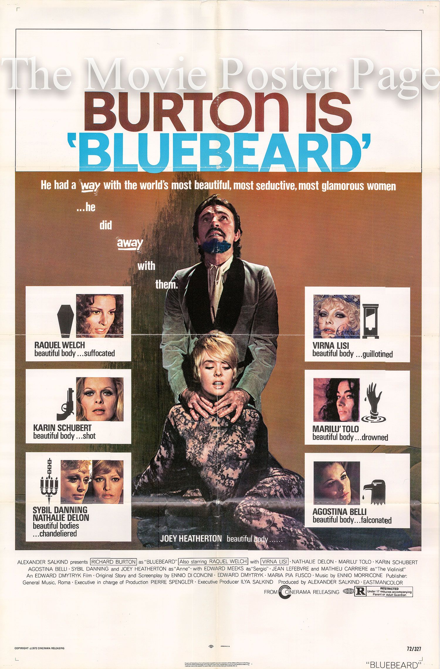 Pictured is a US one-sheet promotional poster for the 1972 Edward Dmytryk film Bluebeard starring Richard Burton.