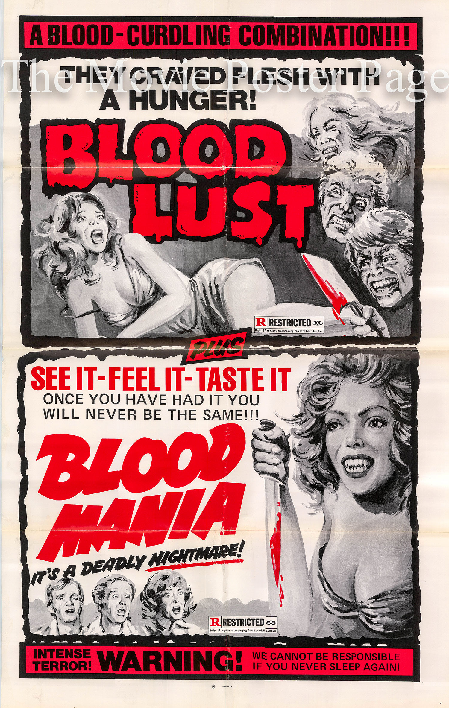 Pictured is a 1970 US one-sheet combo poster for the films Blood Lust and Blood Mania.