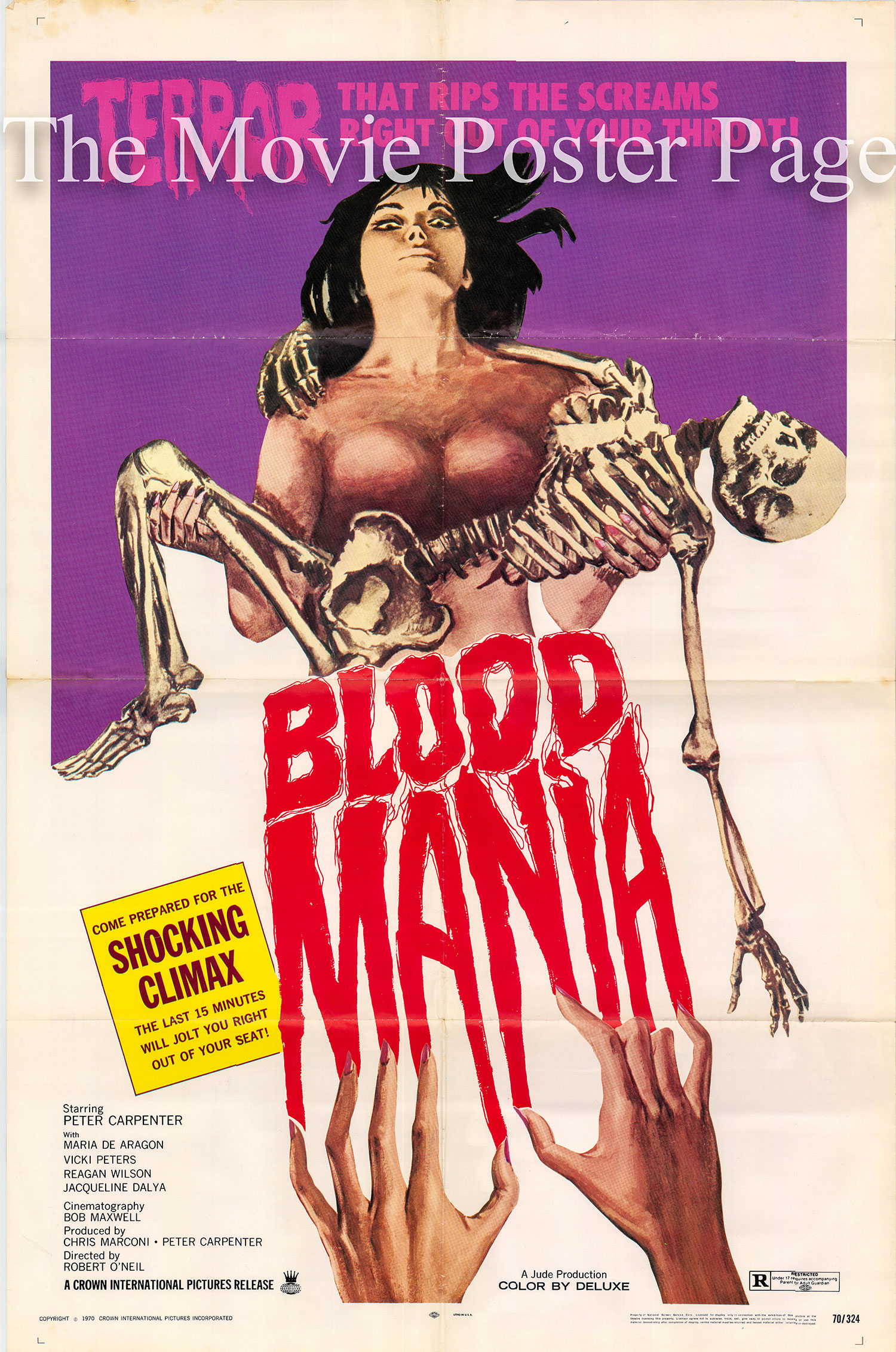 Pictured is a US one-sheet poster for the 1970 Robert Vincent O'Neill film Blood Mania starring Peter Carpenter as Dr. Craig Cooper.