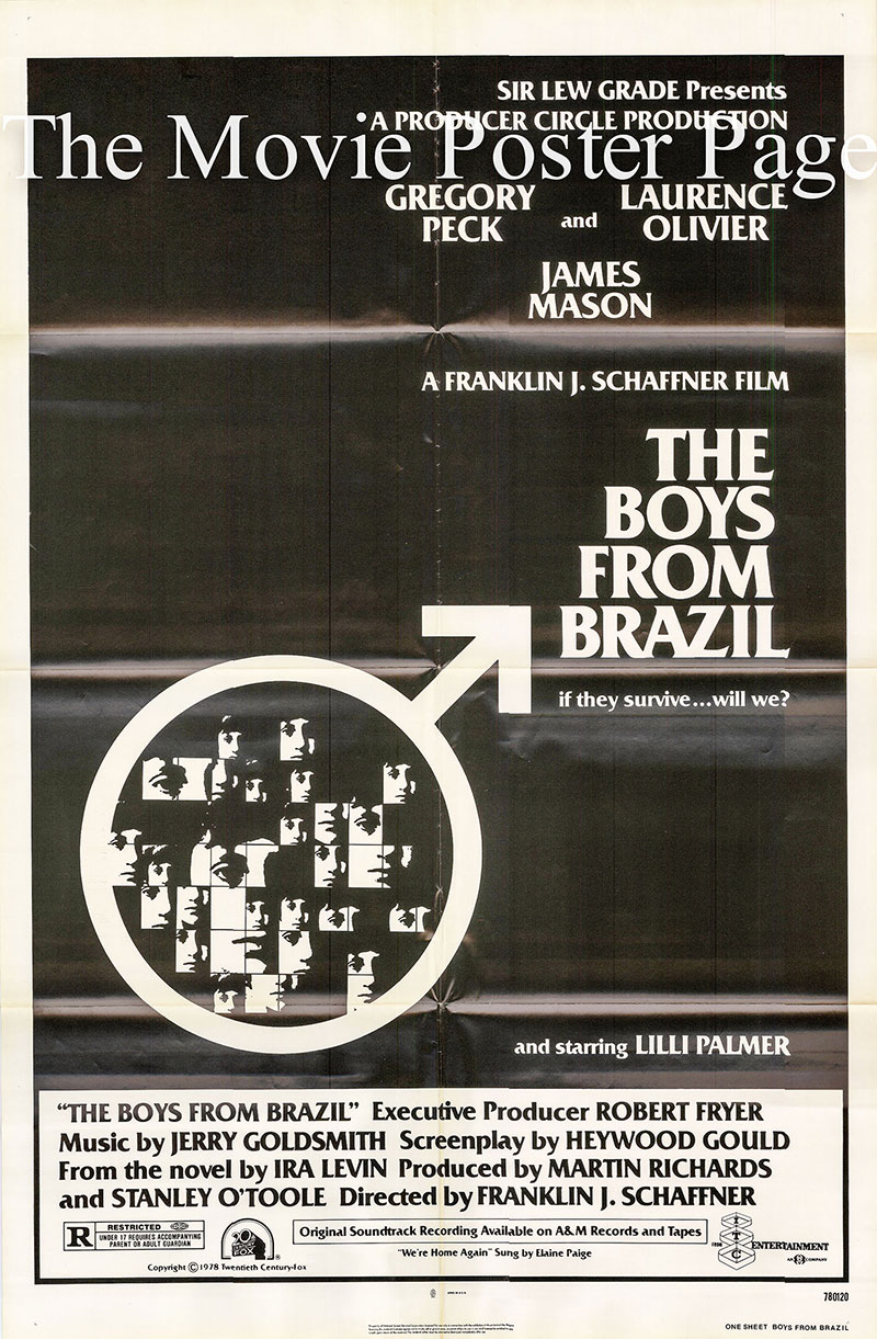 Pictured is a US one-sheet poster for the 1978 Franklin J. Schaffner film The Boys from Brazil starring Gregory Peck as Dr. Josef Mengele.