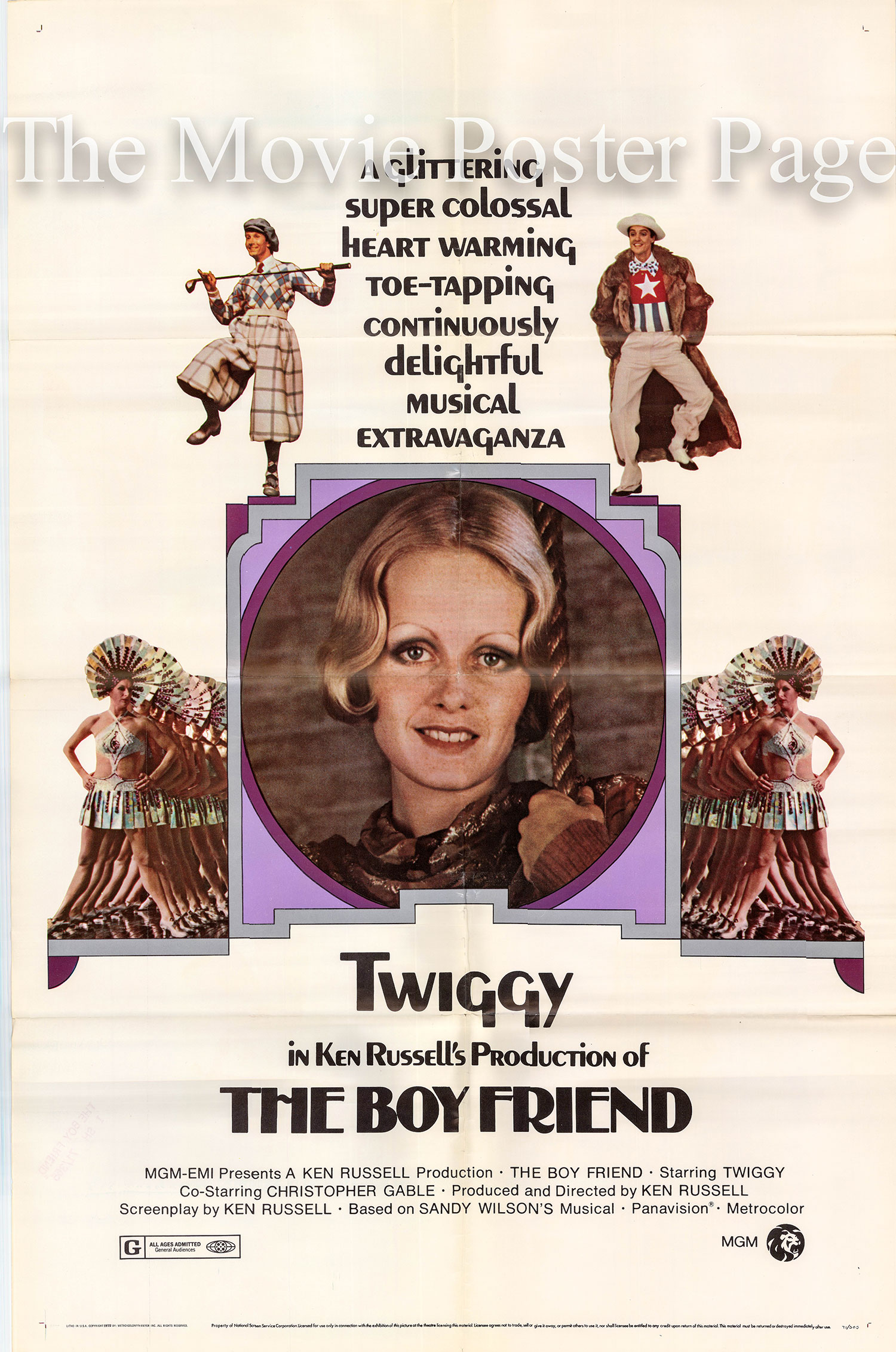 Pictured is a US one-sheet promotional poster for the 1971 Ken Russell film The Boy Friend starring Twiggy as Polly Browne.