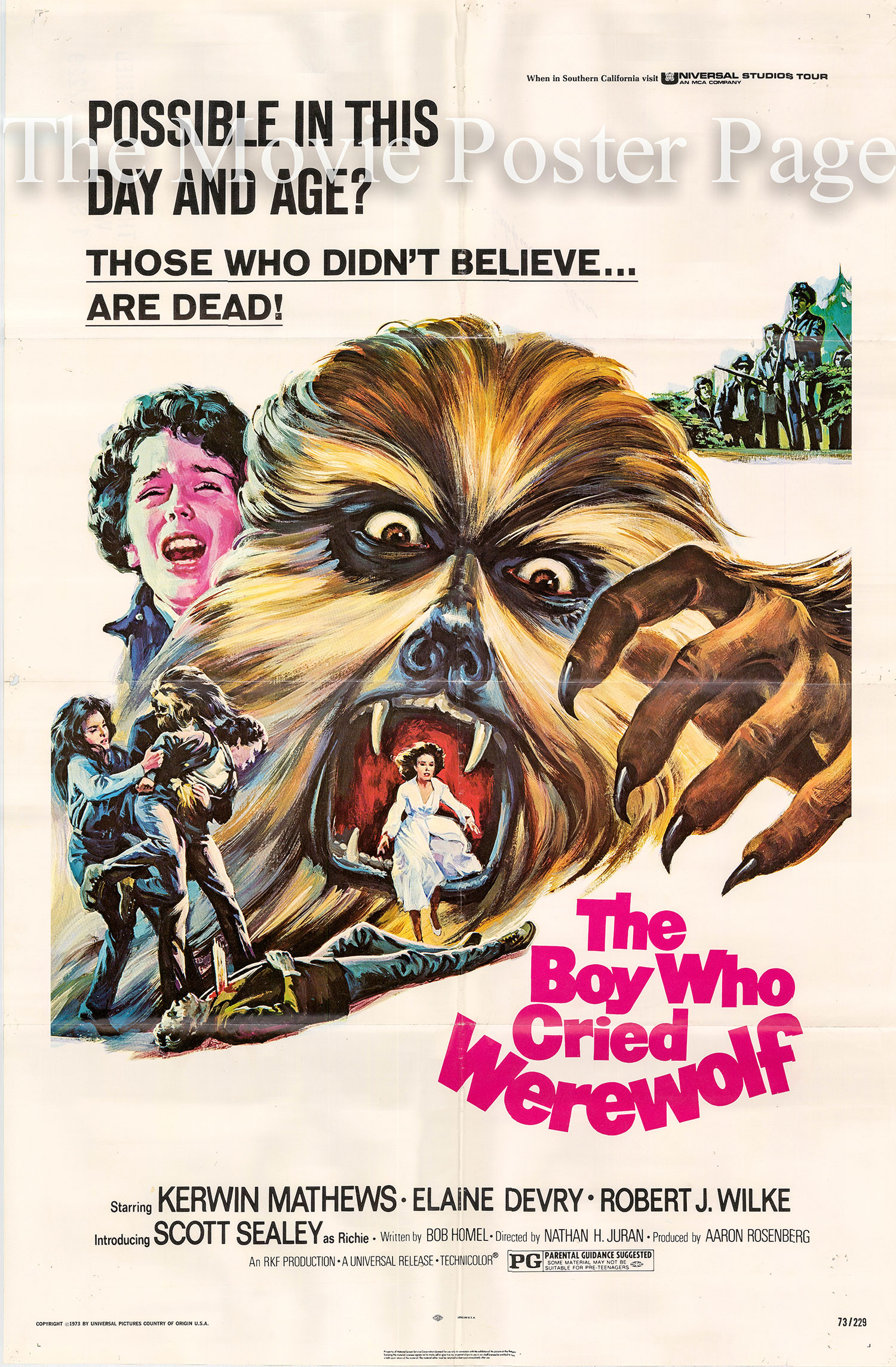 Pictured is a US promotional one-sheet poster for the 1973 Nathan Juran film The Boy Who Cried Werefolf starring Kerwin Mathews as Robert Bridgestone.
