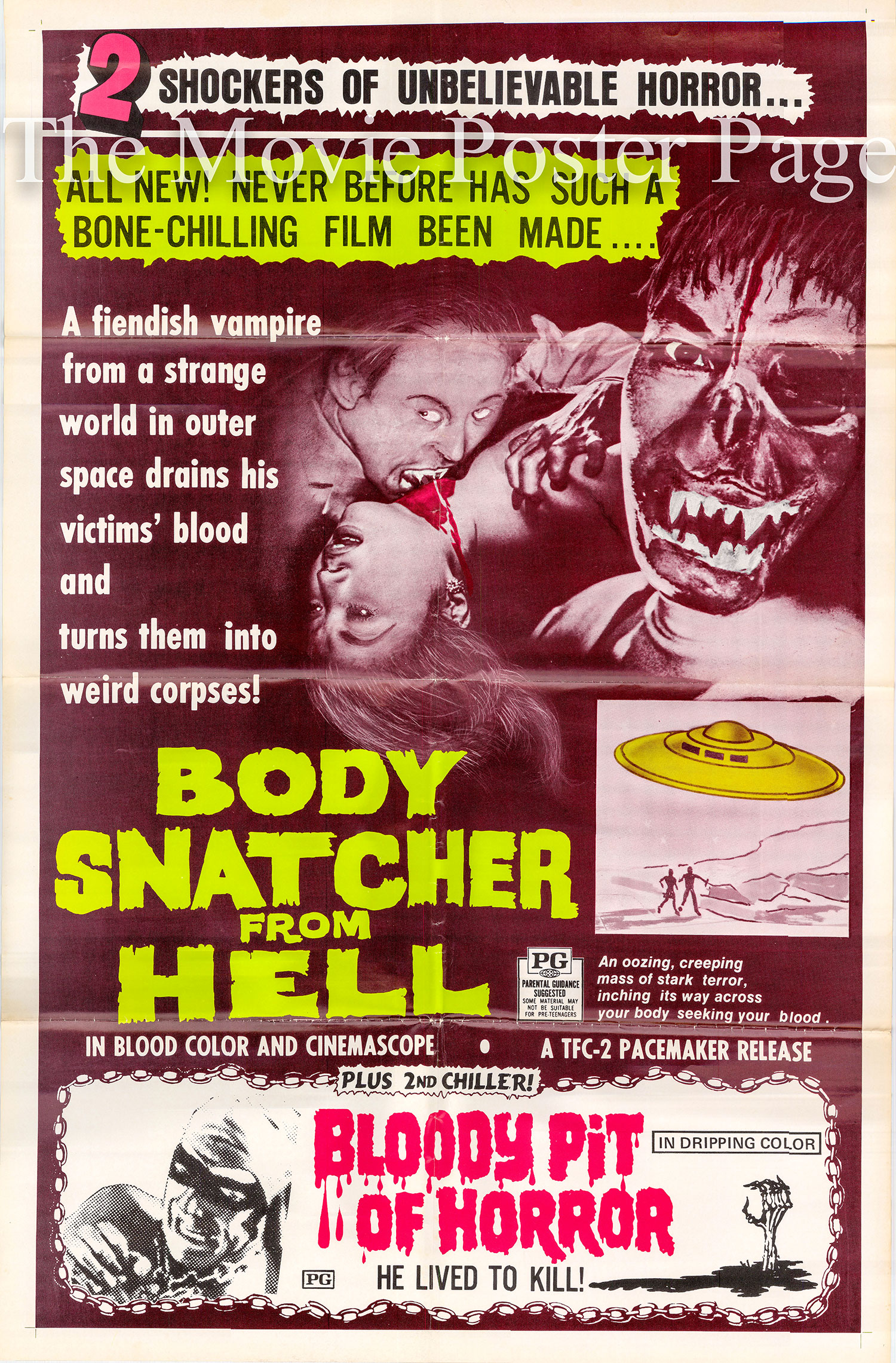 Picutred is a US combo one-sheet poster for the films Body Snatcher from Hell and Bloody Pit of Horror.