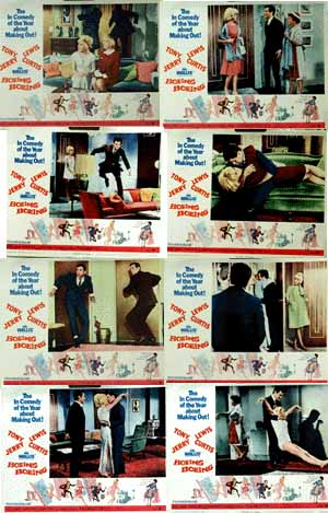 Pictured is a US lobby card set for the 1965 Jerry Lewis film Boeing Boeing.