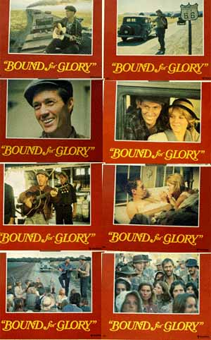 Pictured is a US lobby card set for the 1976 Hal Ashby film Bound for Glory starring David Carradine.