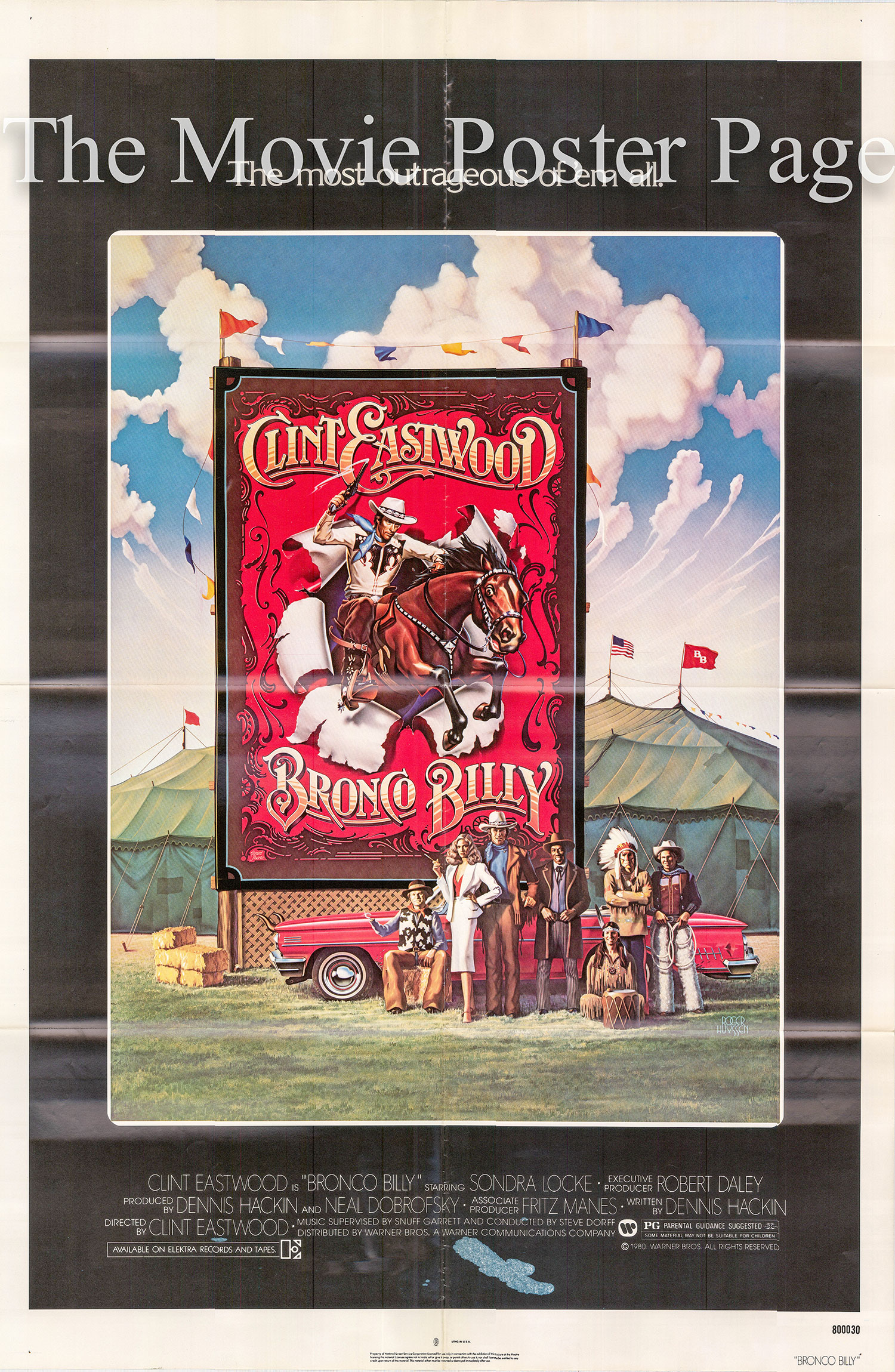 Pictured is a US one-sheet poster for the 1980 Clint Eastwood film Bronco Billy starring Clint Eastwood and Bronco Billy.