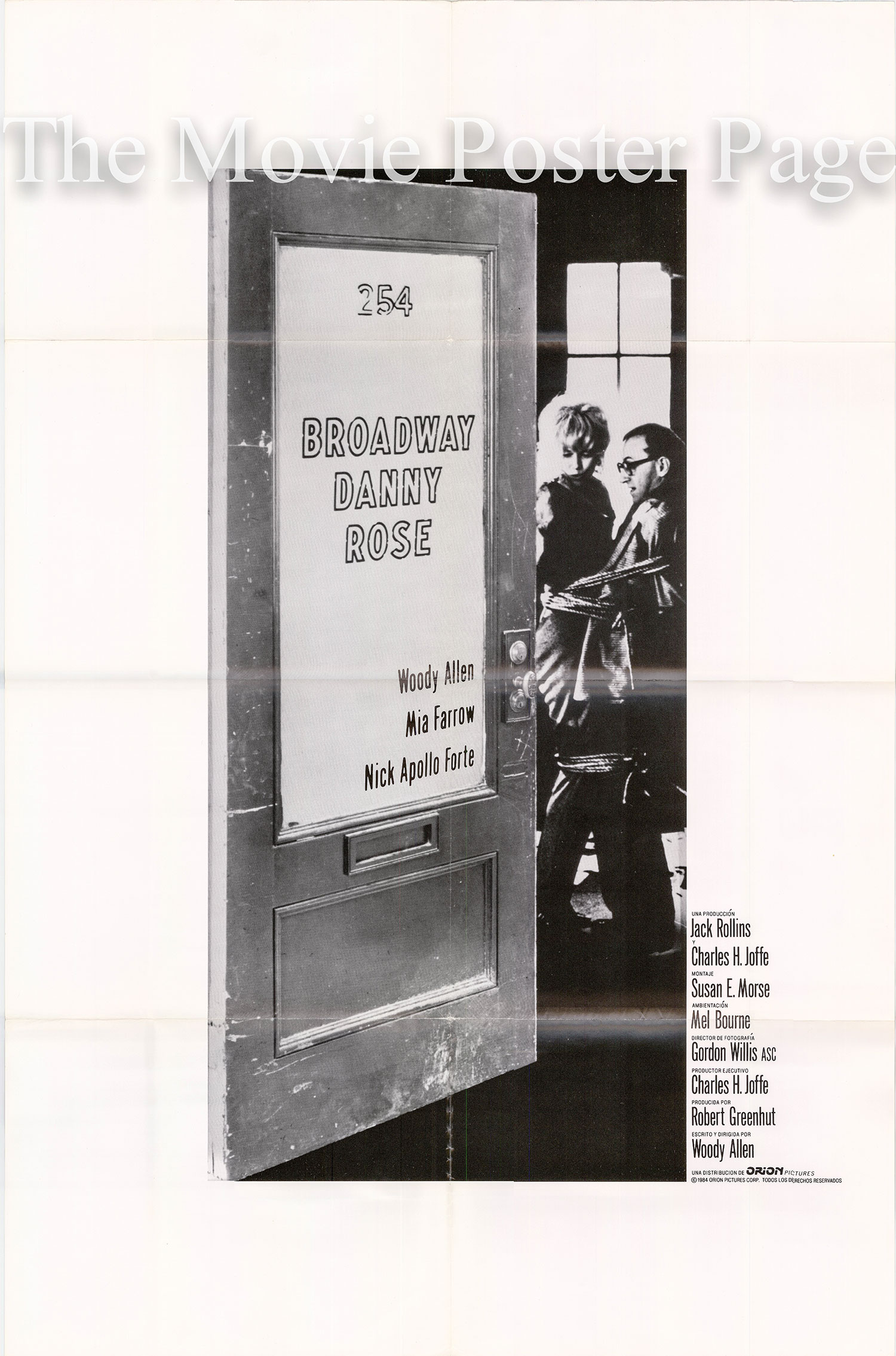 Pictured is a Spanish one-sheet poster for the 1984 Woody Allen film Broadway Danny Rose, starring Woody Allen.
