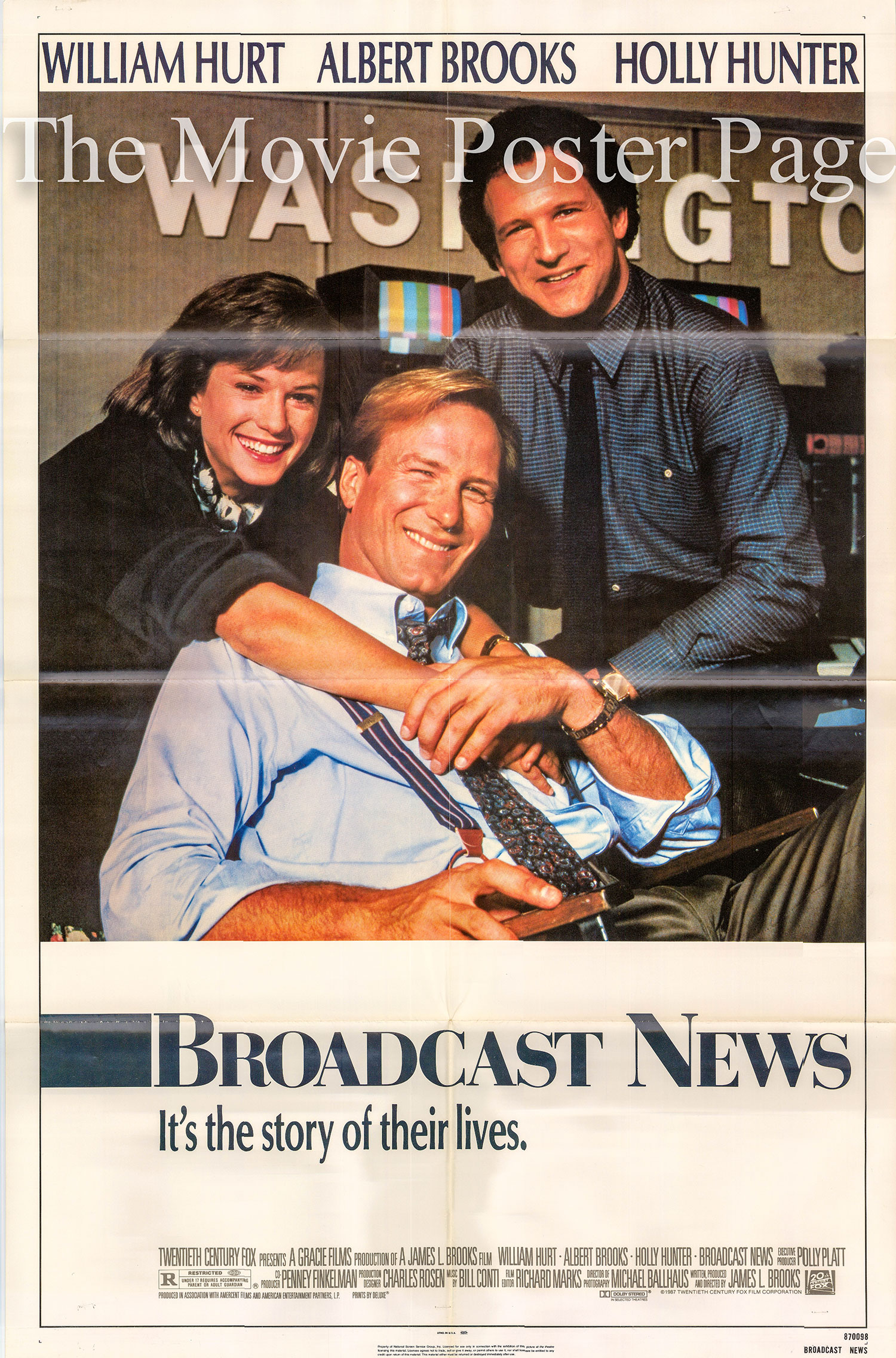 Pictured is a US one-sheet poster for the 1987 James L. Brooks film Broadcast News starring William Hurt as Tom Grunick.