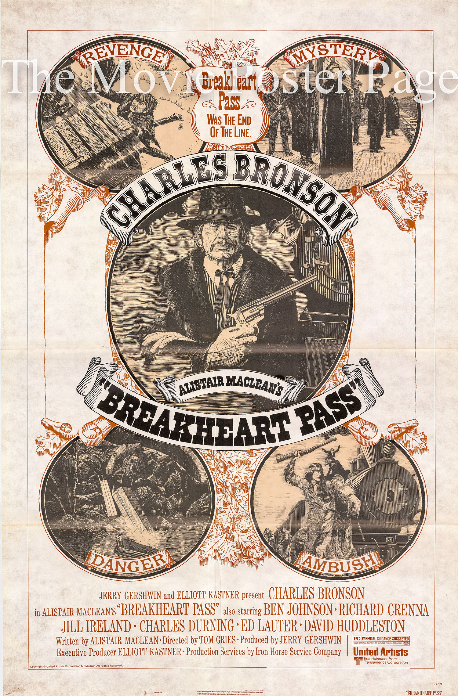 Pictured is a US one-sheet poster for the 1976 Tom Gries film Breakheart Pass starring Charles Bronson as Deakin.