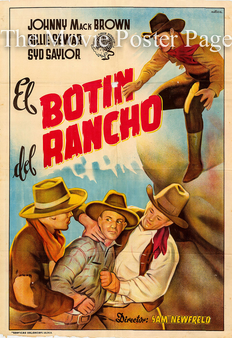 Pictured is an undated Spanish one-sheet poster for a rerelease of the 1935 Sam Newfeld film Branded a Coward starring Johnny Mack Brown as Johnny Hume.