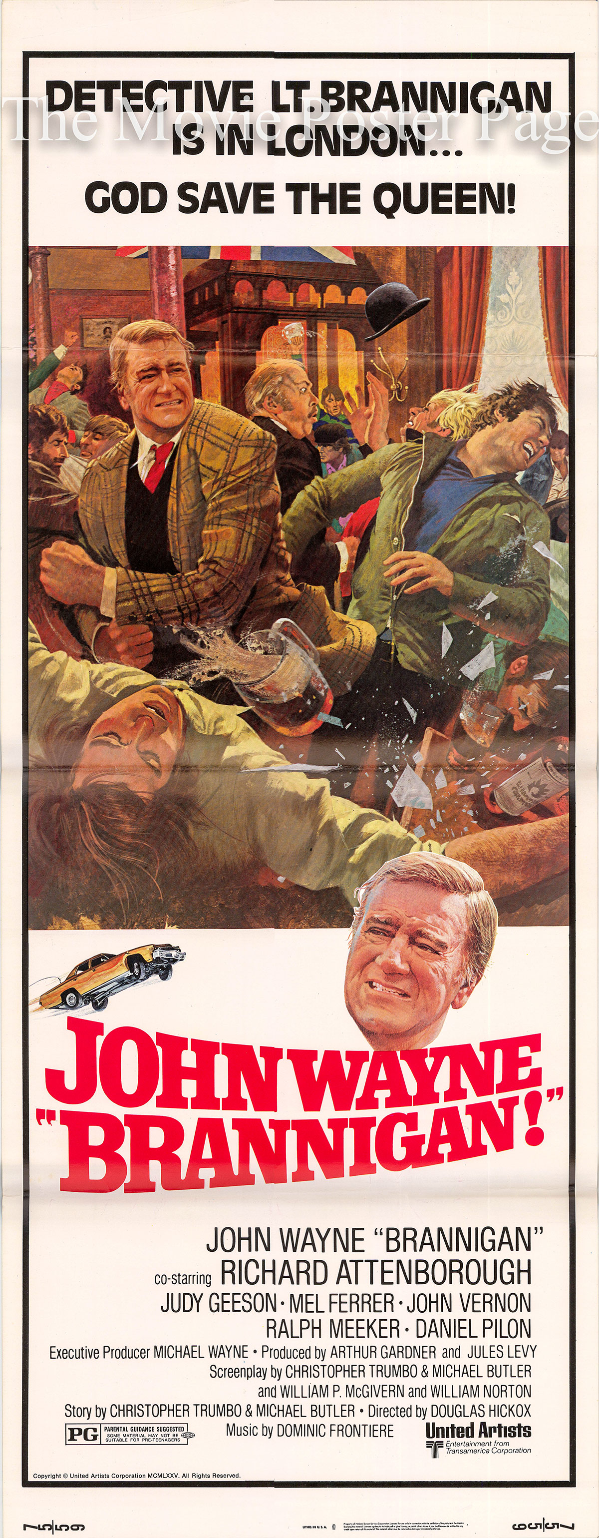 Pictured is a US insert poster for the 1975 Douglas Hickox film Brannigan starring John Wayne.