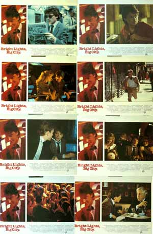 Pictured is a US lobby card set for the 1988 James Bridges film Bright Lights, Big City starring Michael J. Fox.