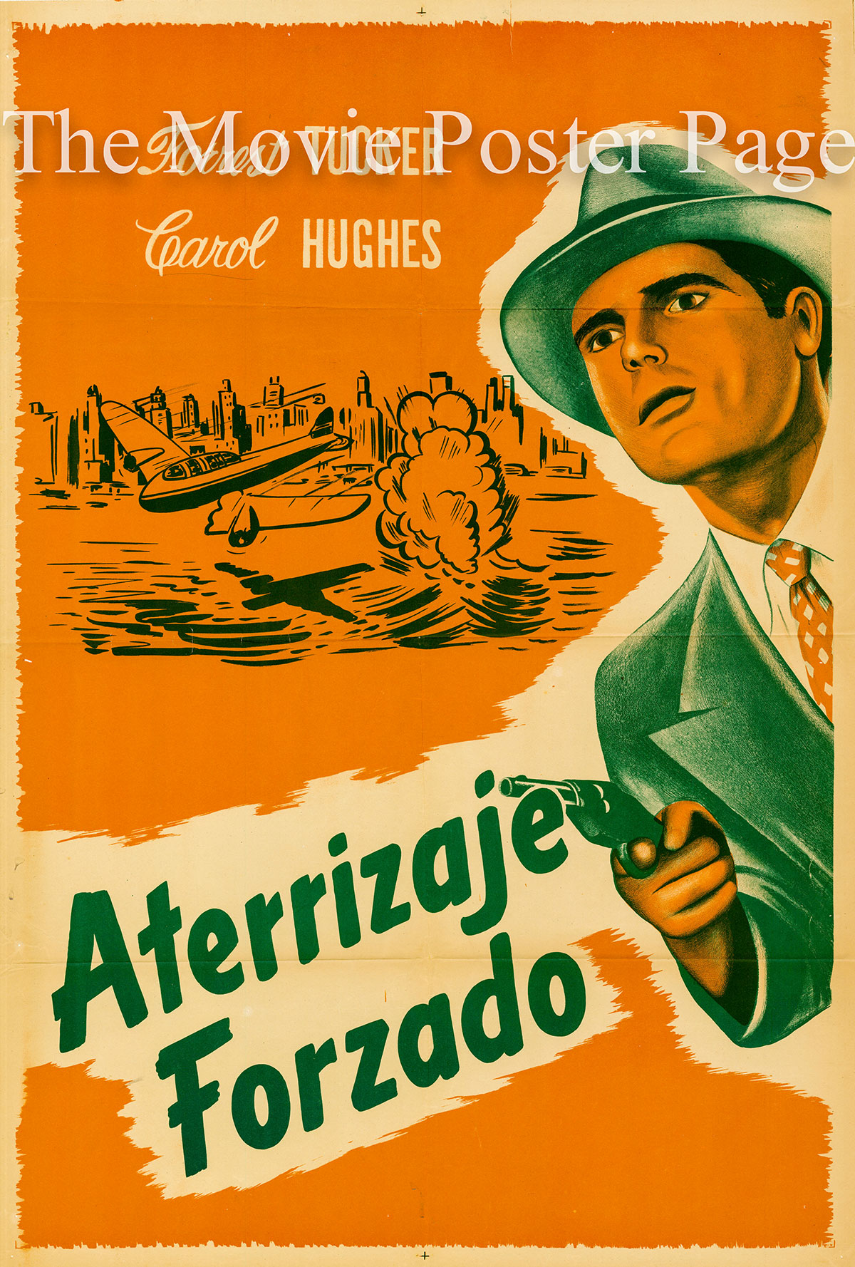 Pictured is an Argentine one-sheet poster for the 1941 William Beaudine film Emergency Landing starring Forrest Tucker as Jerry Barton.