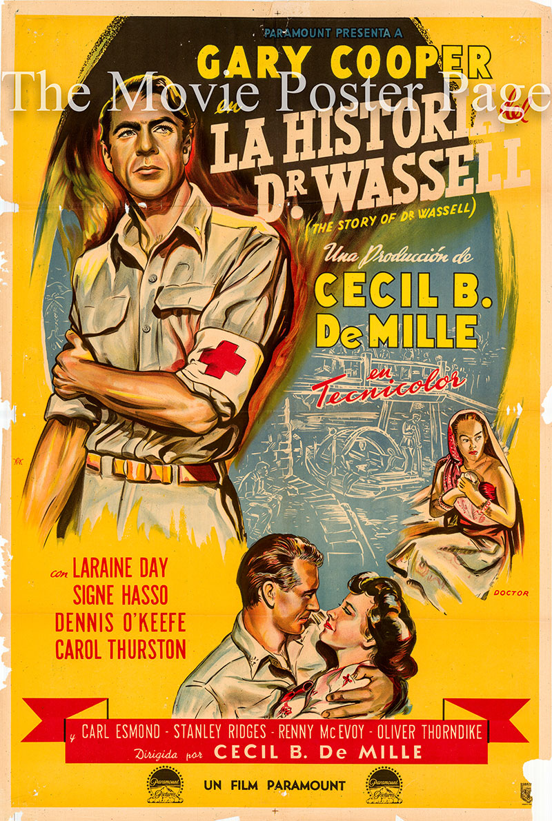 Pictured is an Argentine one-sheet poster for the 1944 Cecil B. DeMille film The Story of Dr. Wassell, starring Gary Cooper as Dr. Corydon M. Wassell.