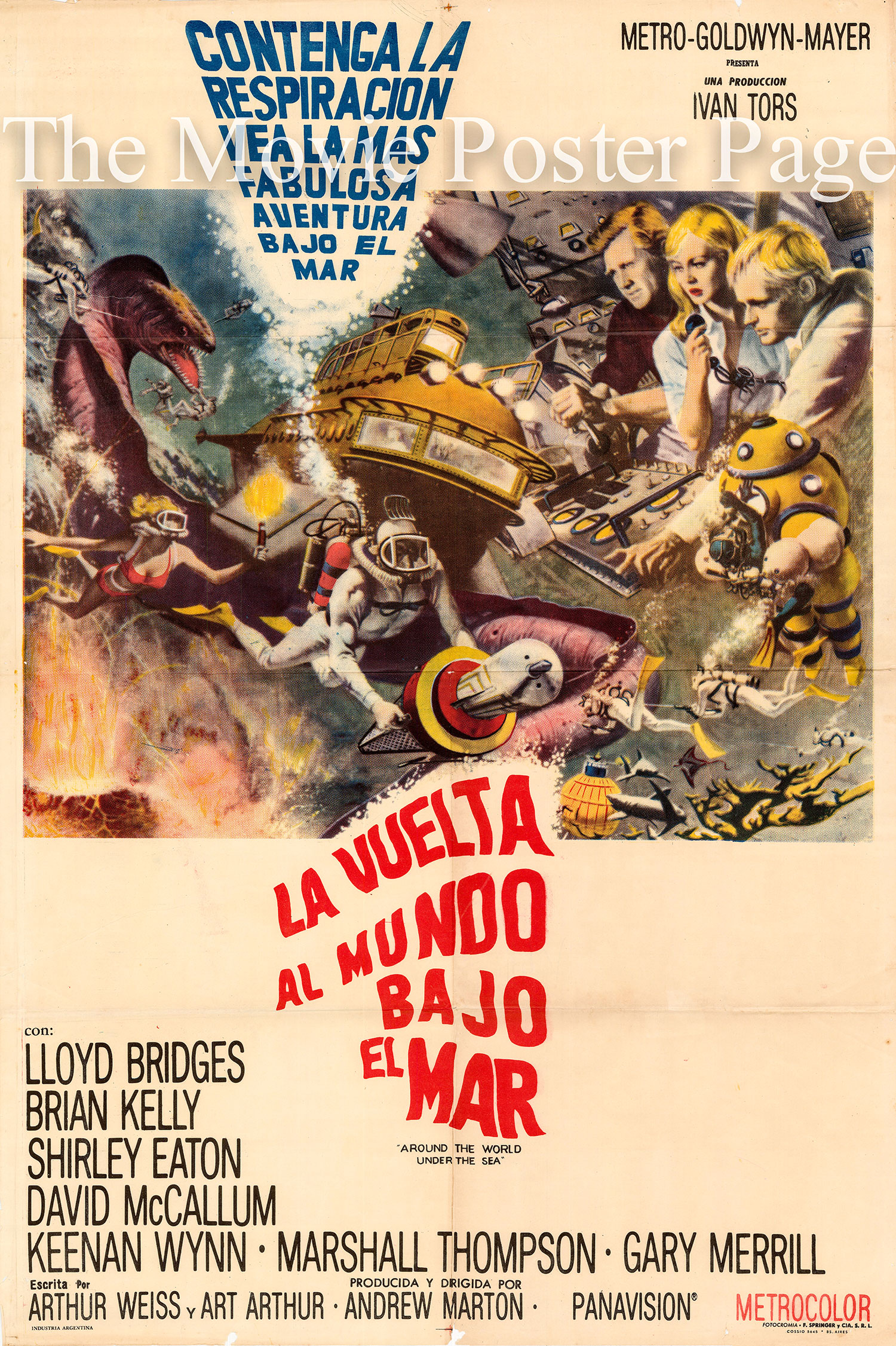 Pictured is an Argentine one-sheet for the 1966 Andrew Marton film Around the World under the Sea starring Lloyd Bridges.