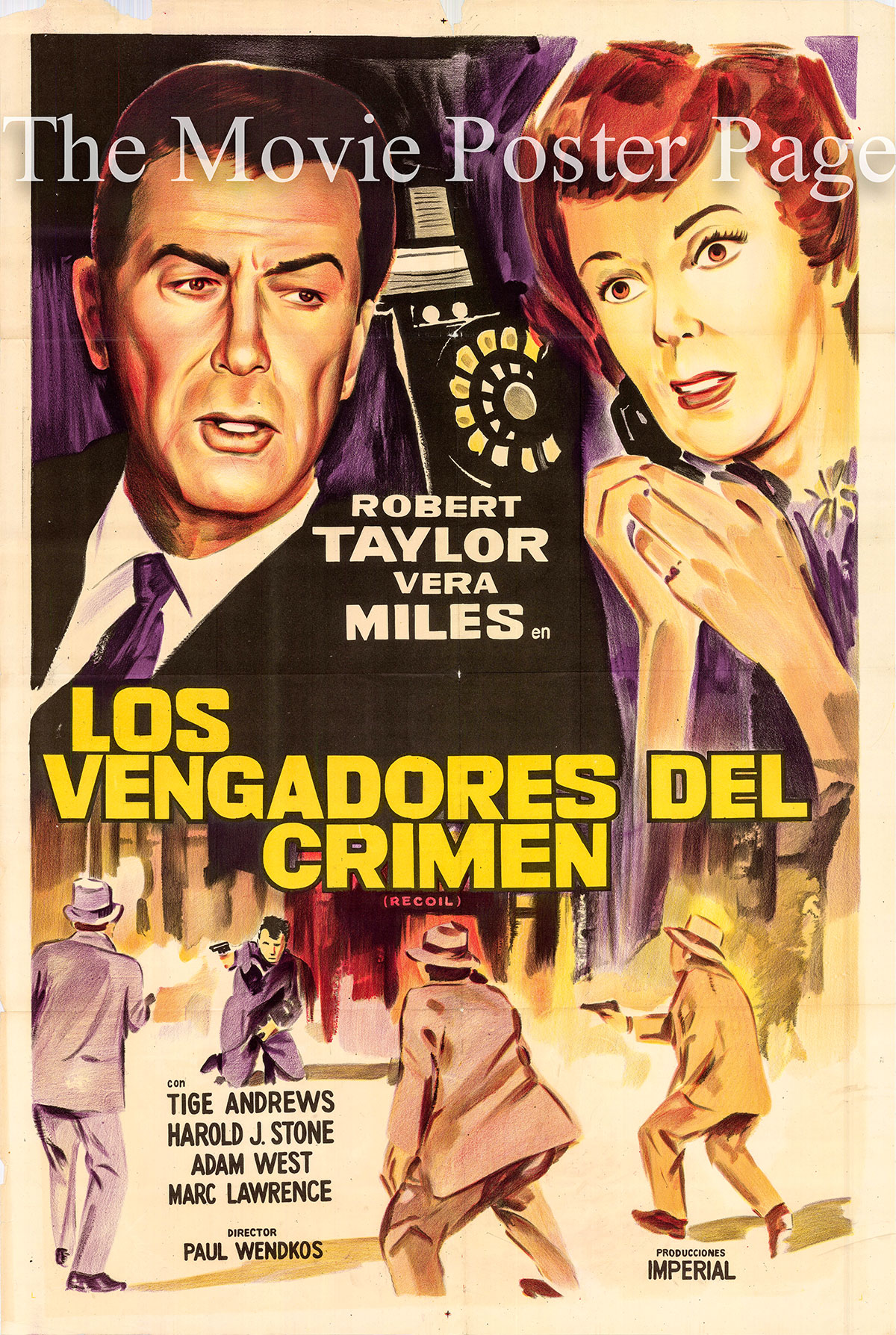 Pictured is an Argentine promotional poster for the 159-1962 TV series The Detectives directed by Paul Wendkos and starring Robert Taylor as Detective Captain Matt Holbrook.