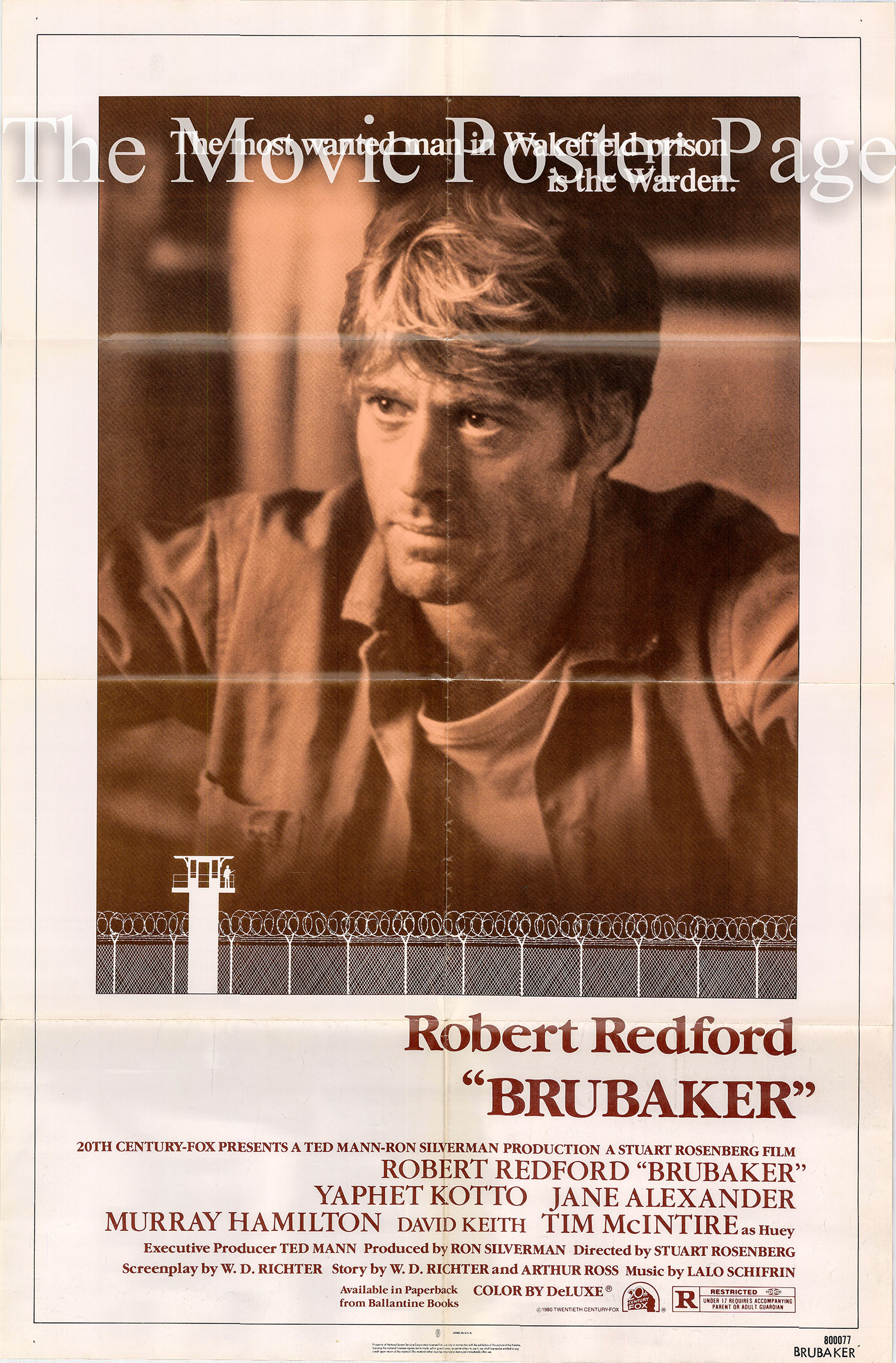 Pictured is a US one-sheet promotional poster for the 1980 Stuart Rosenberg film Brubaker starring Robert Redford.