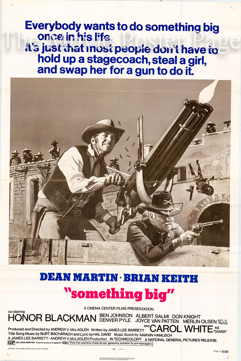 Pictured is a US one-sheet poster for the 1971 Andrew V. McLaglen film Something Big starring Dean Martin as Joe Baker.