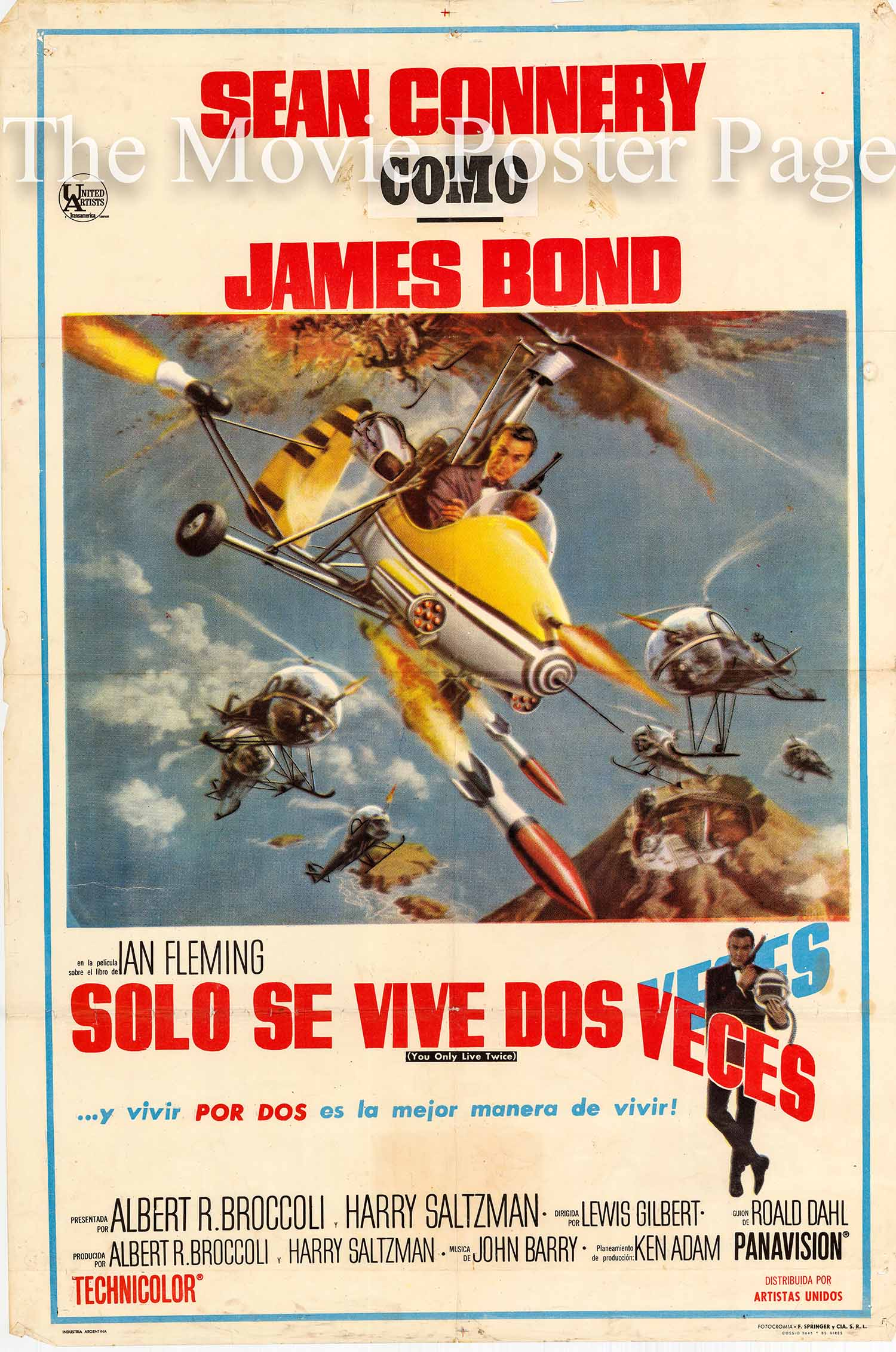 Pictured is an Argentine one-sheet stone litho poster made to promote the 1967 Lewis Gilbert film You Only Live Twice starring Sean Connery as James Bond.