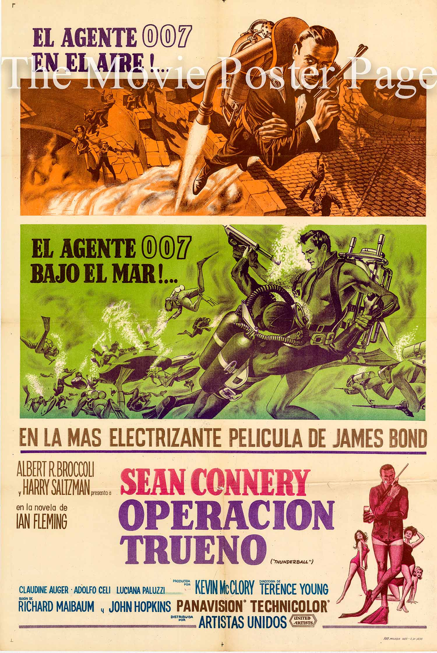 Pictured is an Argentine 29x43 poster made to promote the 1965 Terence Young film Thunderball starring Sean Connery as James Bond.