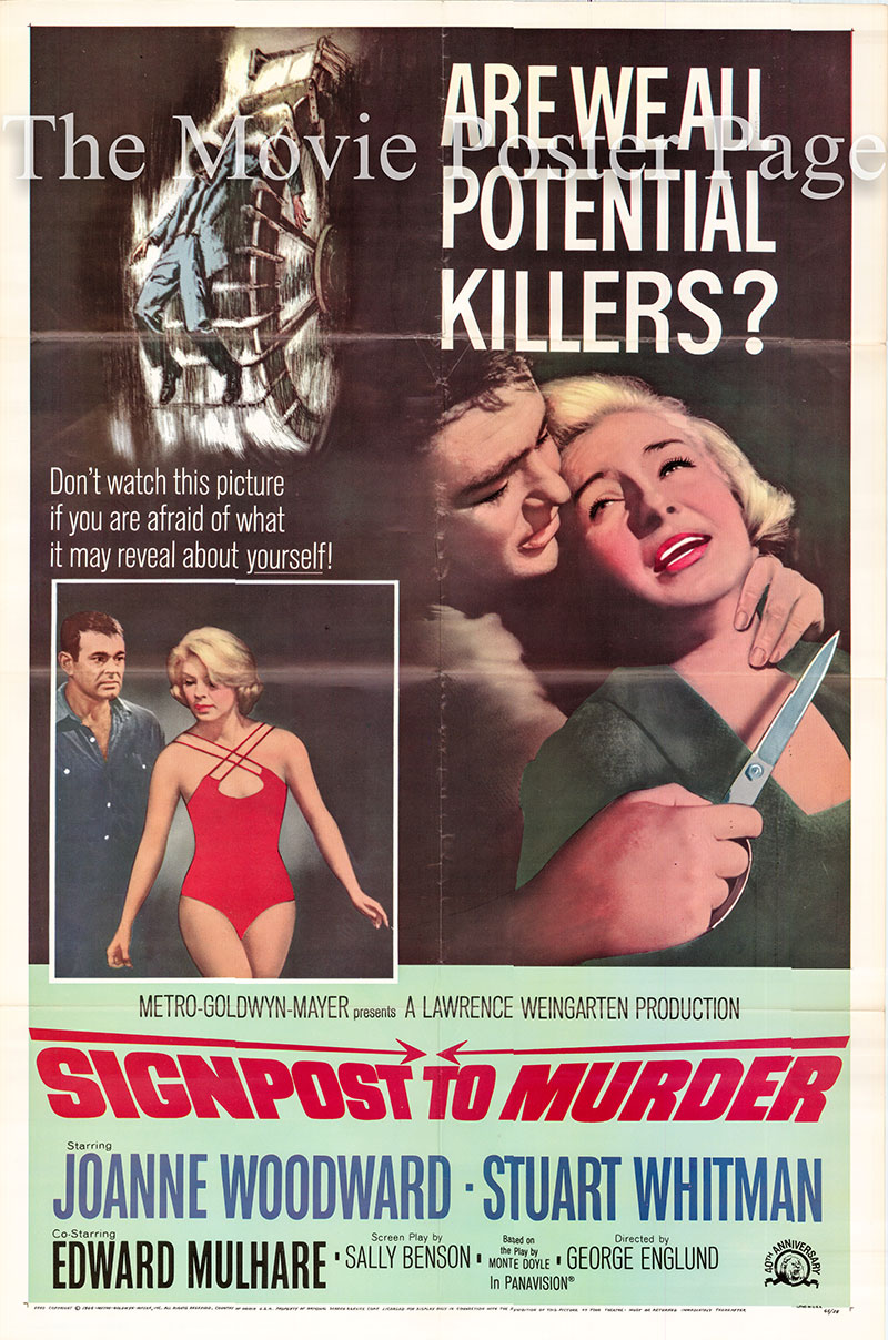 Pictured is a US one-sheet poster for the 1964 George Englund film Signpost to Murder starring Joanne Woodward as Molly Thomas.