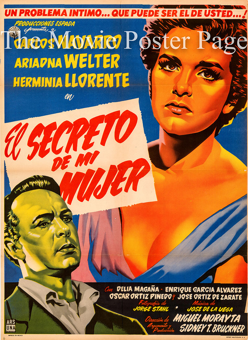 Pictured is a Mexican one-sheet poster for the 1955 Miguel Morayta film El secreto de una mujer starring Ariadna Welter as Luisa.