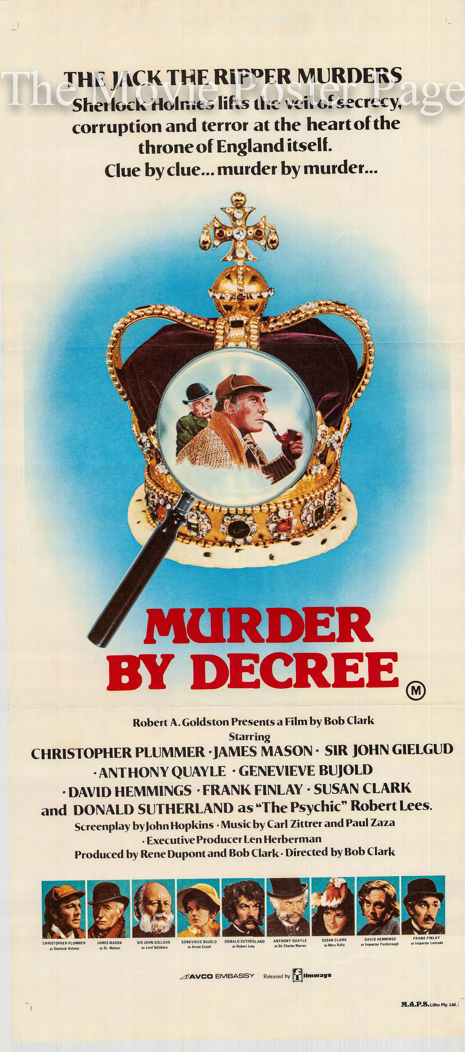 Pictured is an Australian daybil poster printed to promote the 1979 Bob Clark film Murder By Decree starring Christopher Plummer.
