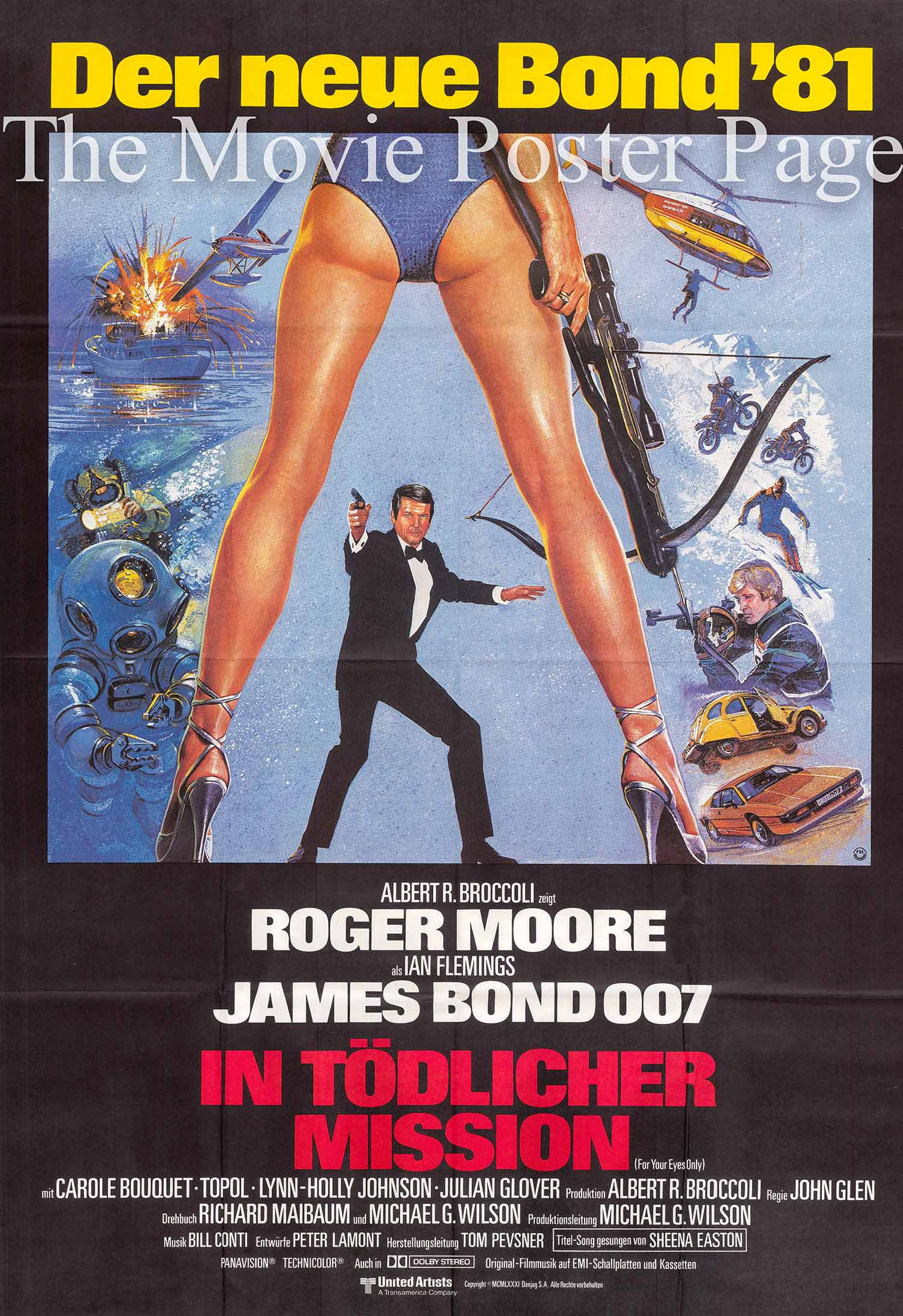 Pictured is a German two-sheet poster for the 1981 John Glen film For Your Eyes Only starring Roger Moore as James Bond.