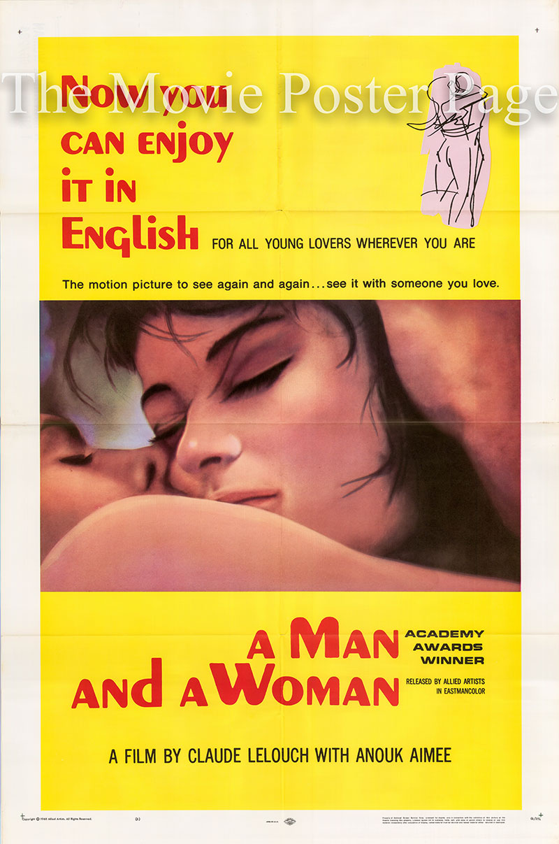 Pictured is a US Style B one-sheet poster for the 1966 Claud Lelouch film A Man and a Woman starring Anouk Aimee and Jean-Luis Trintignant.