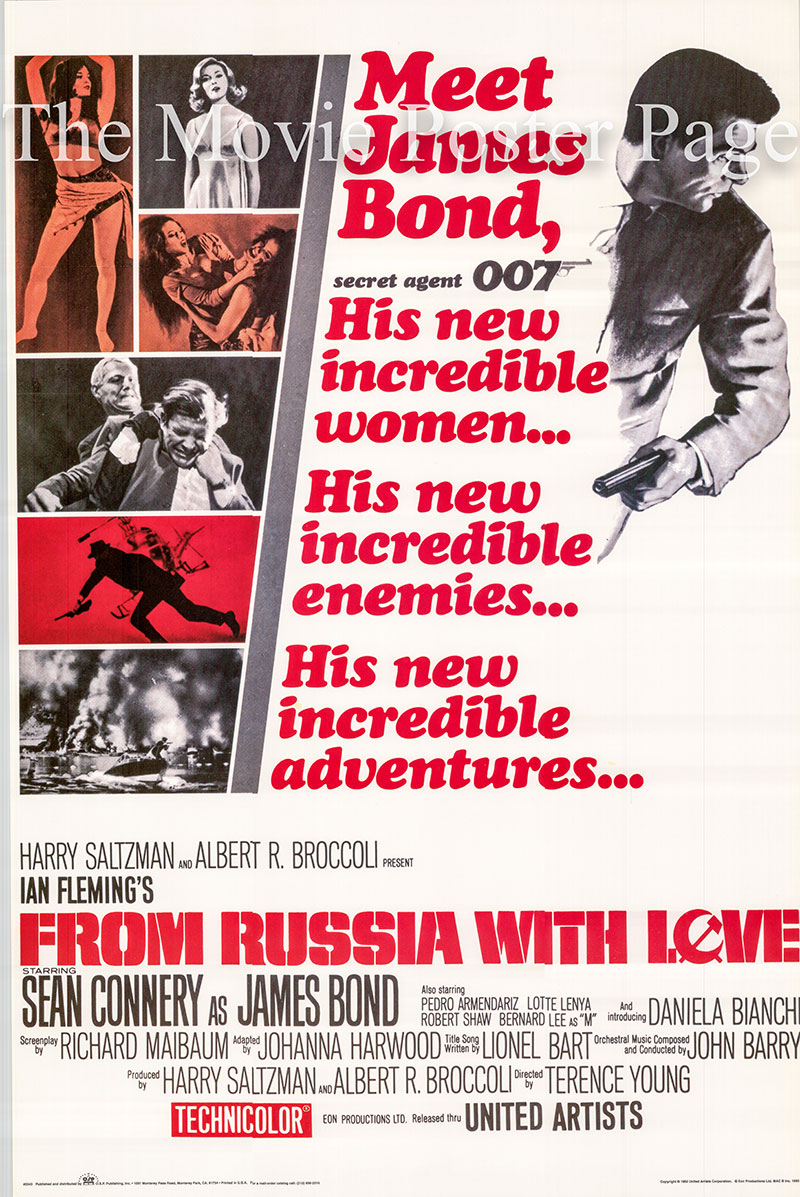 Pictured is a reprint of a US one-sheet poster for the 1964 Terence Young film From Russia with Love starring Sean Connery as James Bond.