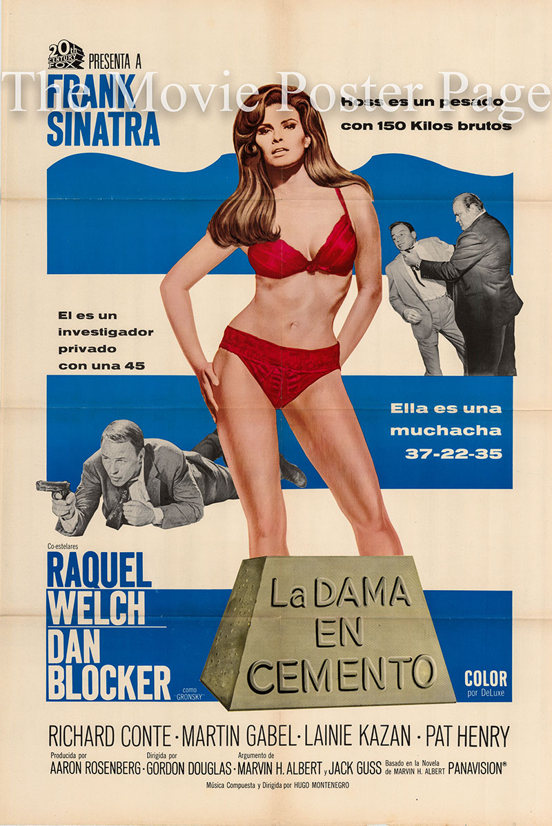 Picture is a US-made Spanish promotional poster for the 1968 Gordon Douglas film Lady in Cement starring Frank Sinatra.