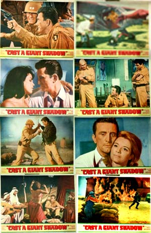 Pictured is a US promotional lobby card set for the 1966 Melville Shavelson film Cast a Giant Shadow starring Kirk Douglas and John Wayne.