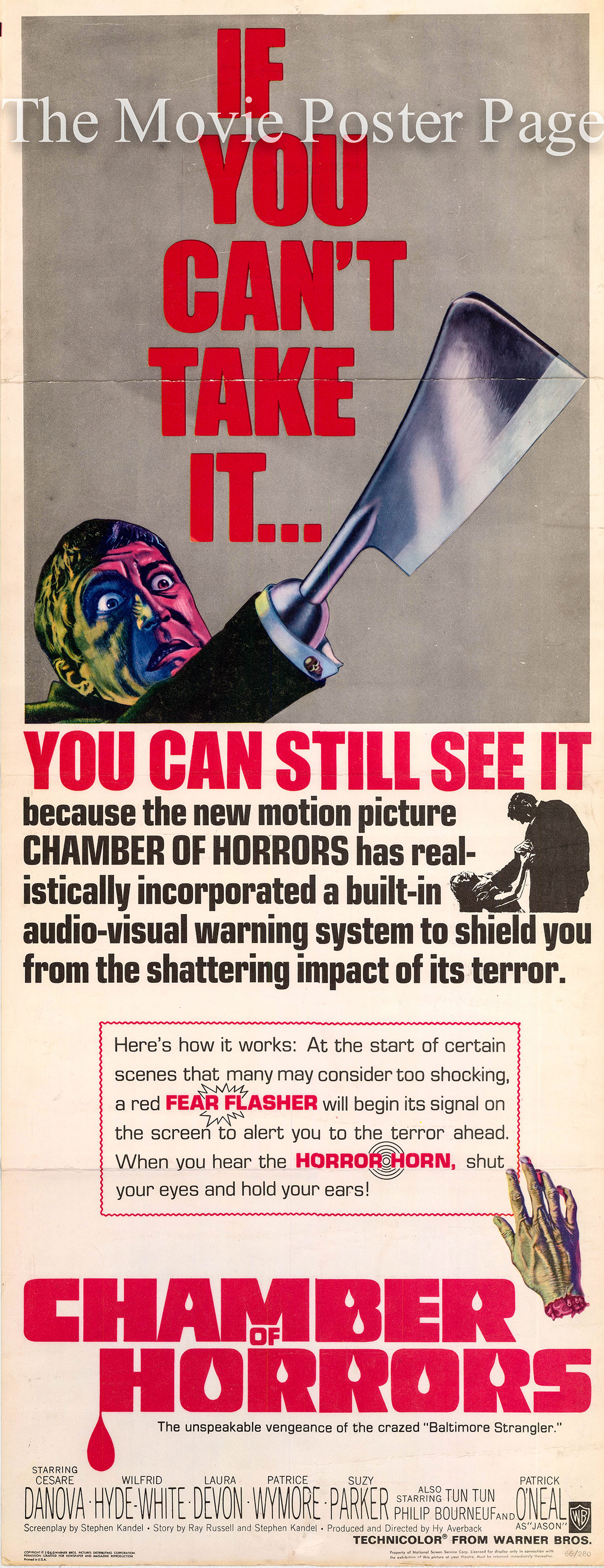 This is a US insert poster for the3 1966 Hy Averback film Chamber of Horrors starring Patrick O'Neal as Jason Cravatte.