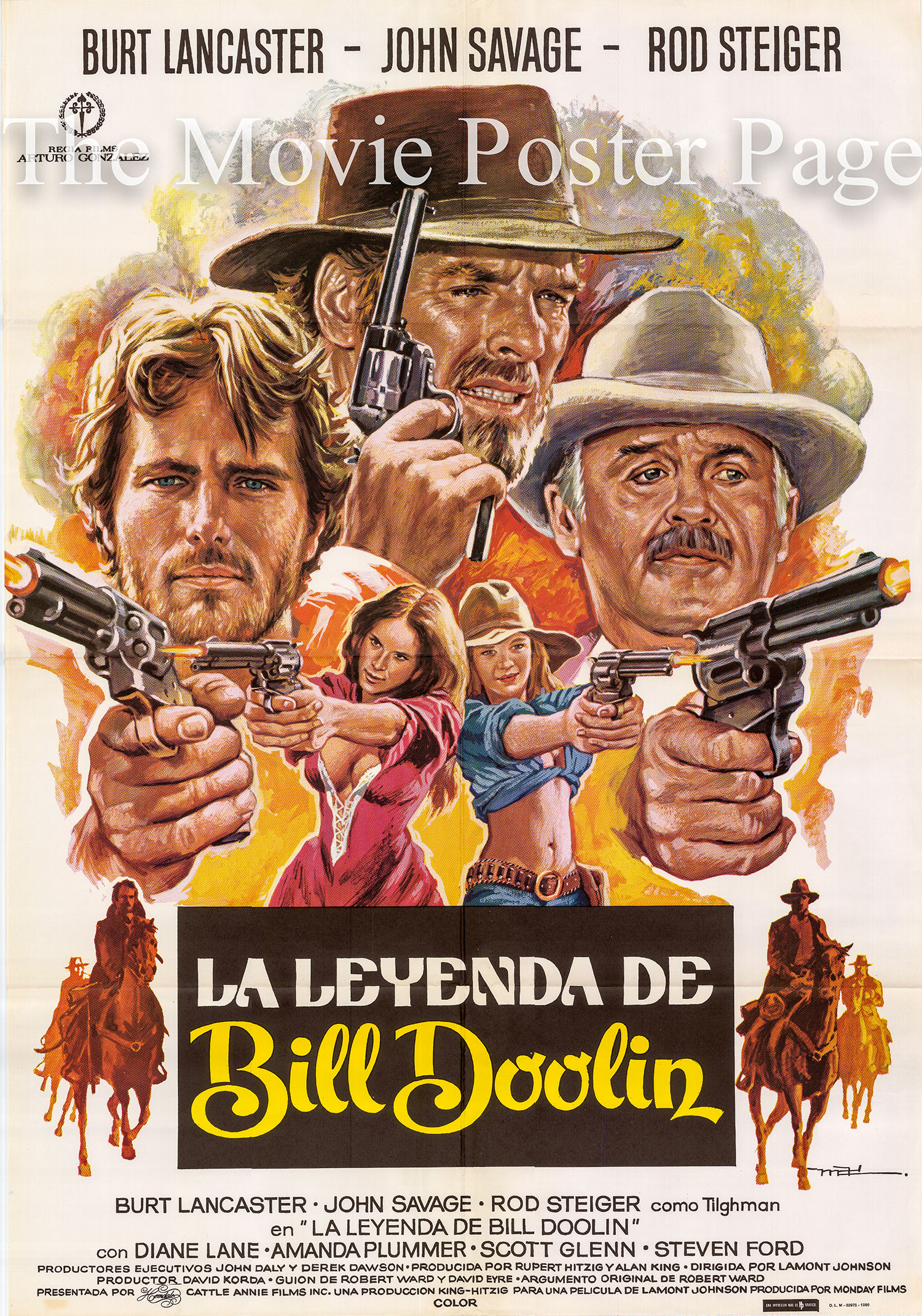 Pictured is a Spanish promotional one-sheet poster for the 1980 Lamont Johnson film Cattle Annie and Little Britches starring Burt Lancaster.