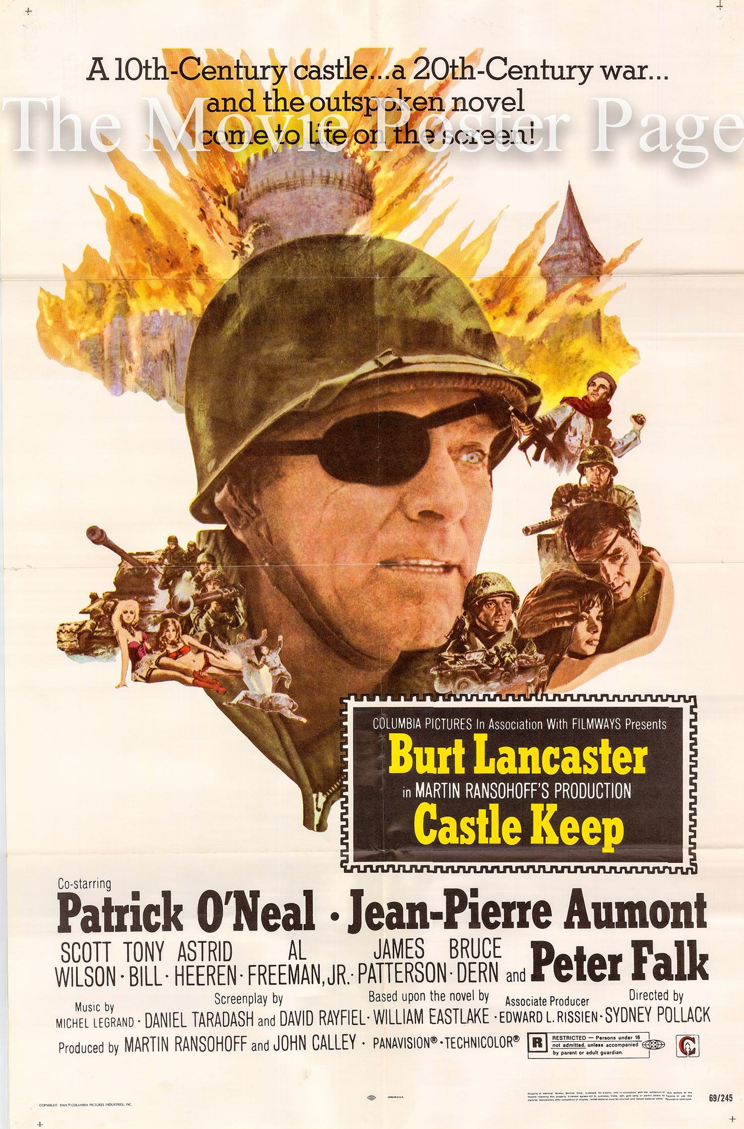 Pictured is a US one-sheet poster for the 1969 Sydney Pollack film Castle Keep starring Burt Lancaster.