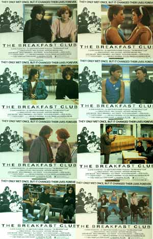 Pictured is a US lobby card set for the 1985 John Hughes film The Breakfast Cub starring Molly Ringwald.