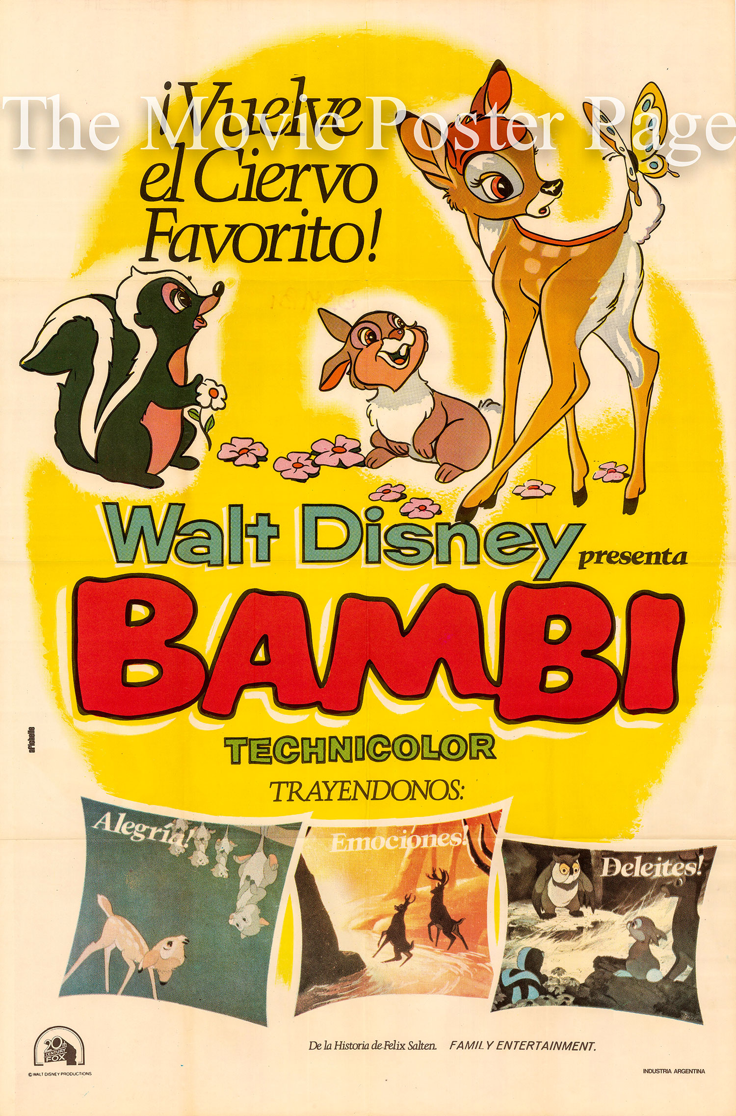 Pictured is an Argentine one-sheet poster for the 1942 James Algar and Samuel Armstrong film Bambi starring Hardie Albright as the voice of the adolescent Bambi.