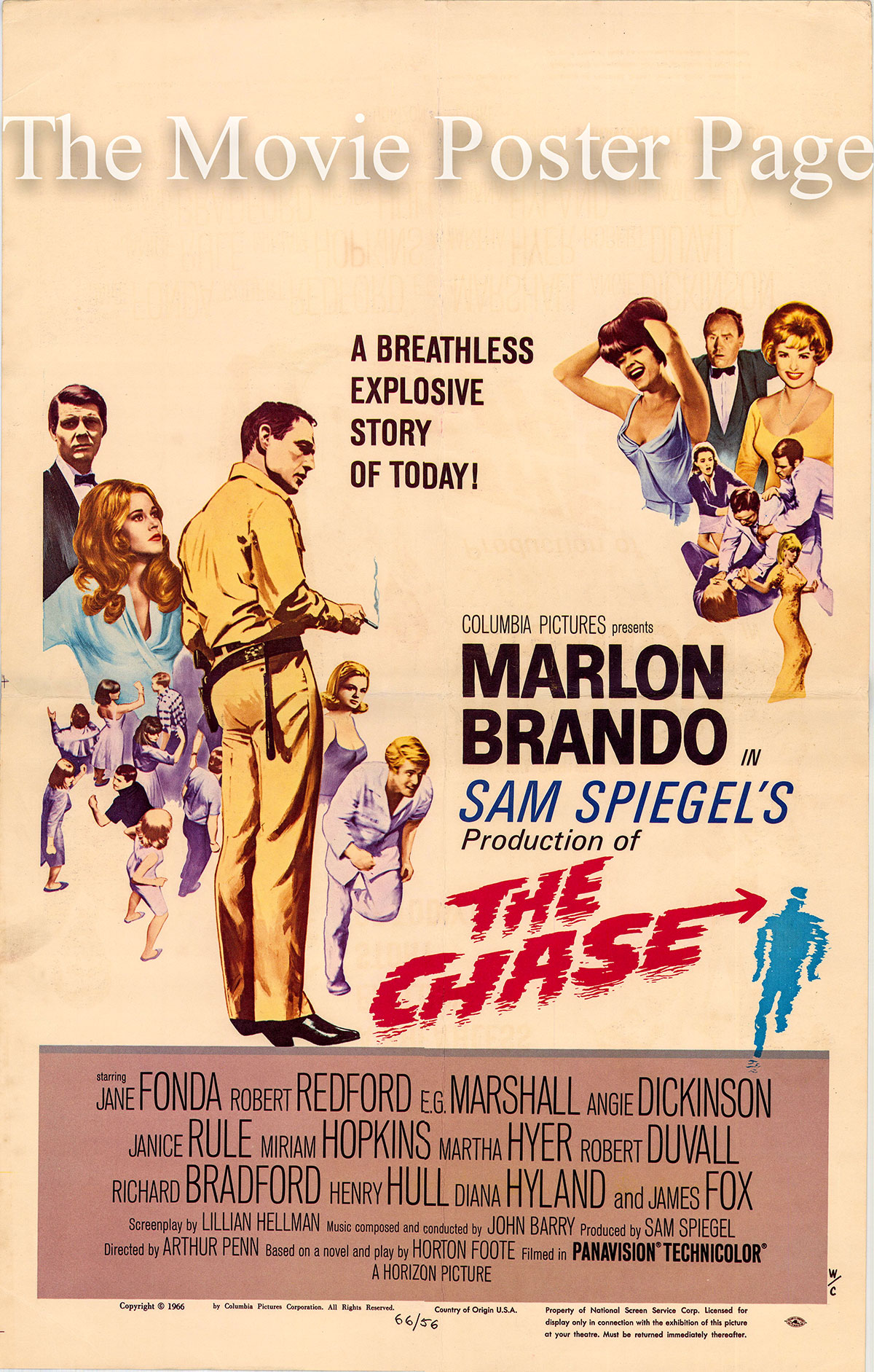 Pictured is a US window card printed to promote the 1966 Arthur Penn film The Chase Starring Marlon Brando.