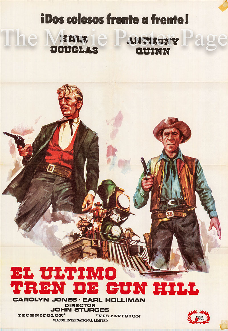 Pictured is a Spanish one-sheet for the 1959 John Sturges film Last Train from Gun Hill starring Kirk Douglas as Marshall Matt Morgan.