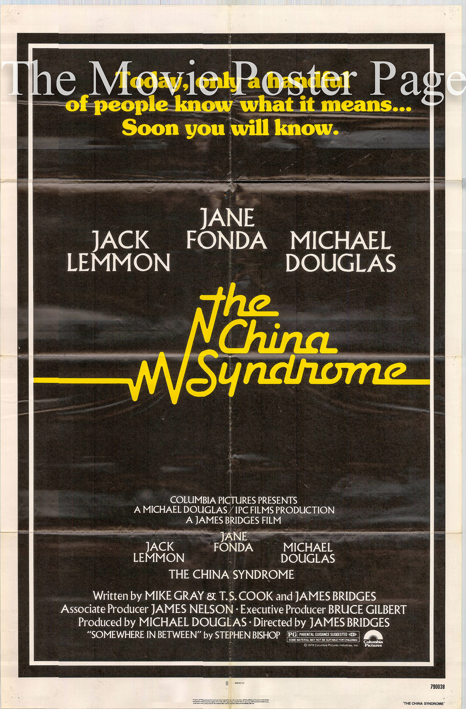 Pictured is a US one-sheet poster for the 1979 James Bridges film The China Syndrome starring Jack Lemmon.