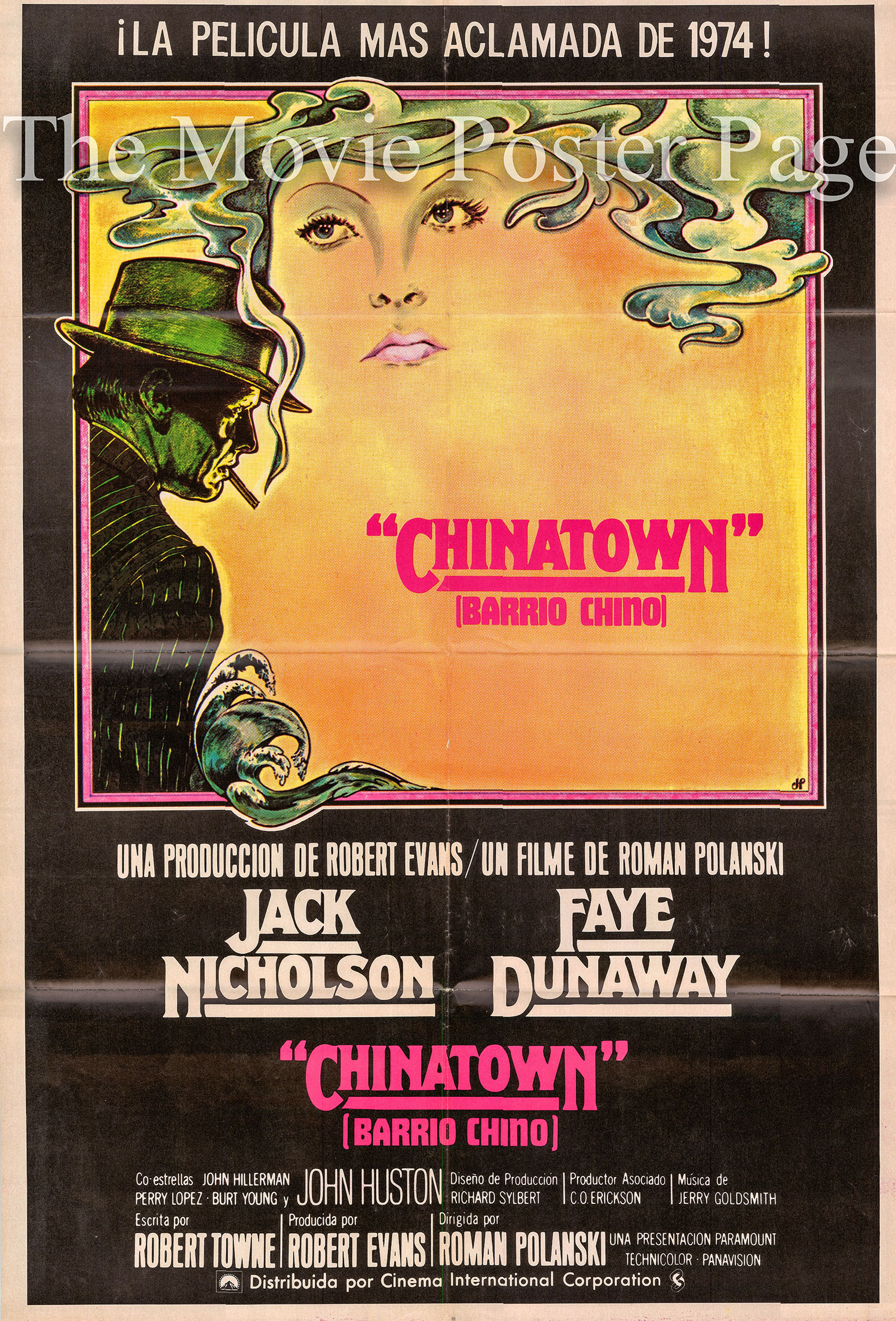 Pictured is a Spanish one-sheet poster for the 1974 Roman Polanski film Chinatown starring Jack Nicholson.