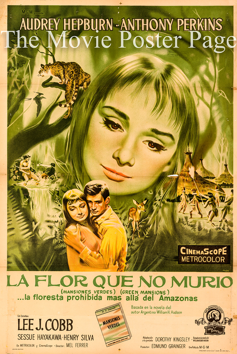 Pictured is an original Argentine one-sheet poster for the 1959 Mel Ferrer film Green Mansions starring Audrey Hepburn as Rima.