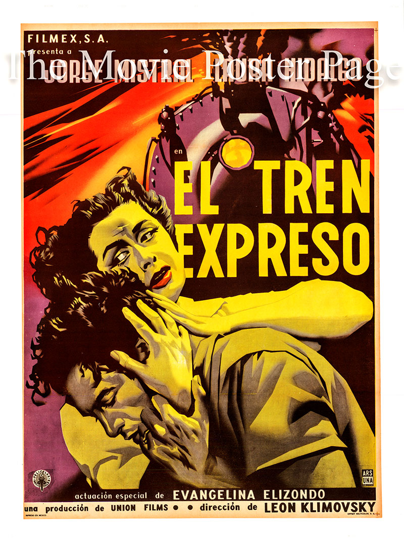 Pictured is a Mexican poster for the 1955 Leon Klimovsky film El Tren Express starring Jorge Mistral as Mario Sandoval.