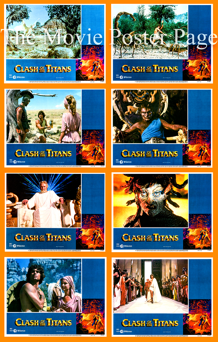 Pictured is a US lobby card set for the 1981 Desmond Davis film Clash of the Titans starring Laurence Olivier.