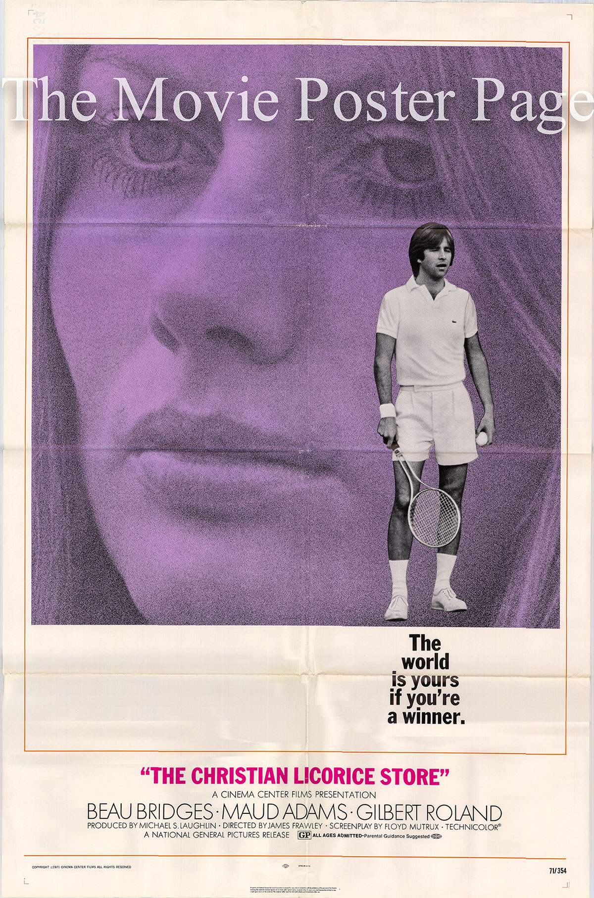 Pictured is a US promotional one-sheet poster for the 1971 James Frawley film The Christian Licorice Store starring Beau Bridges.