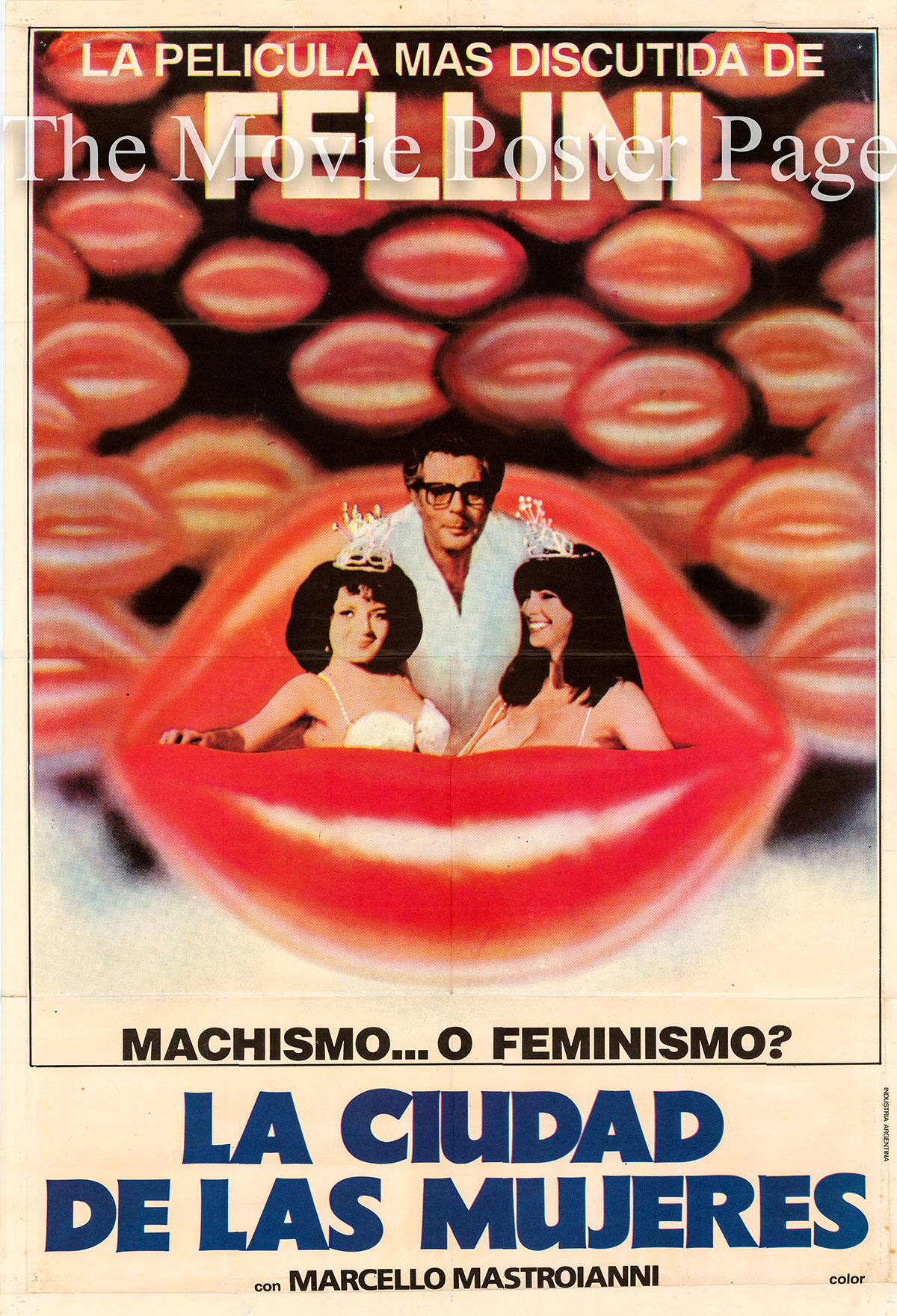 Pictured is an Argentine promotional poster for the 1980 Federico Fellini film City of Women starring Marcello Mastroianni.
