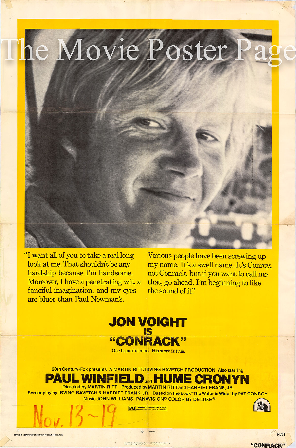 Pictured is a US one-sheet poster for the 1974 Martin Ritt film Conrack starring Jon Voight.