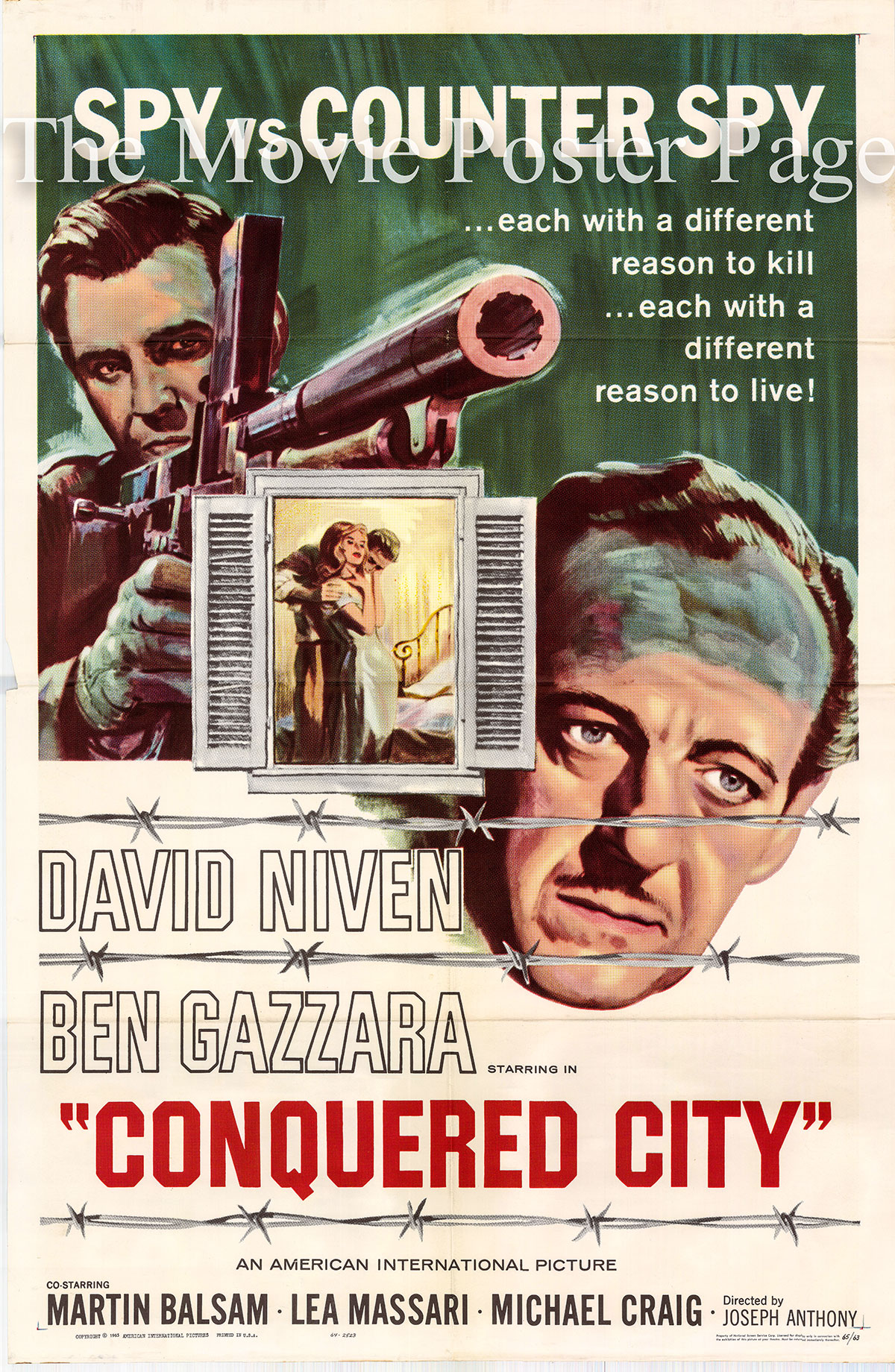 Pictured is a US one-sheet promotional poster for the 1965 Joseph Anthony film Conquered City starring David Niven.